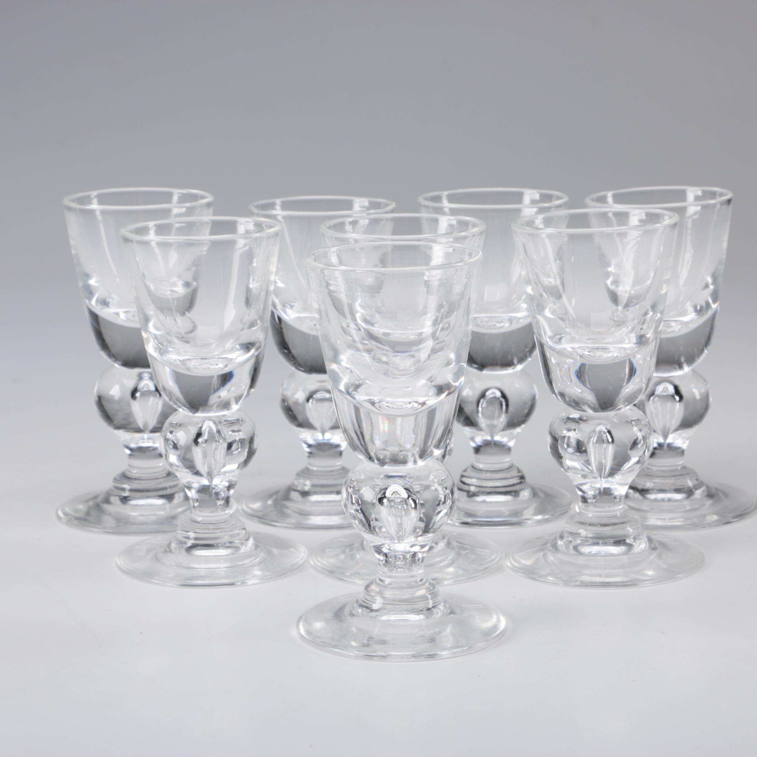 Steuben Art Glass Cordial Glasses Designed by George Thompson, Circa 1940s