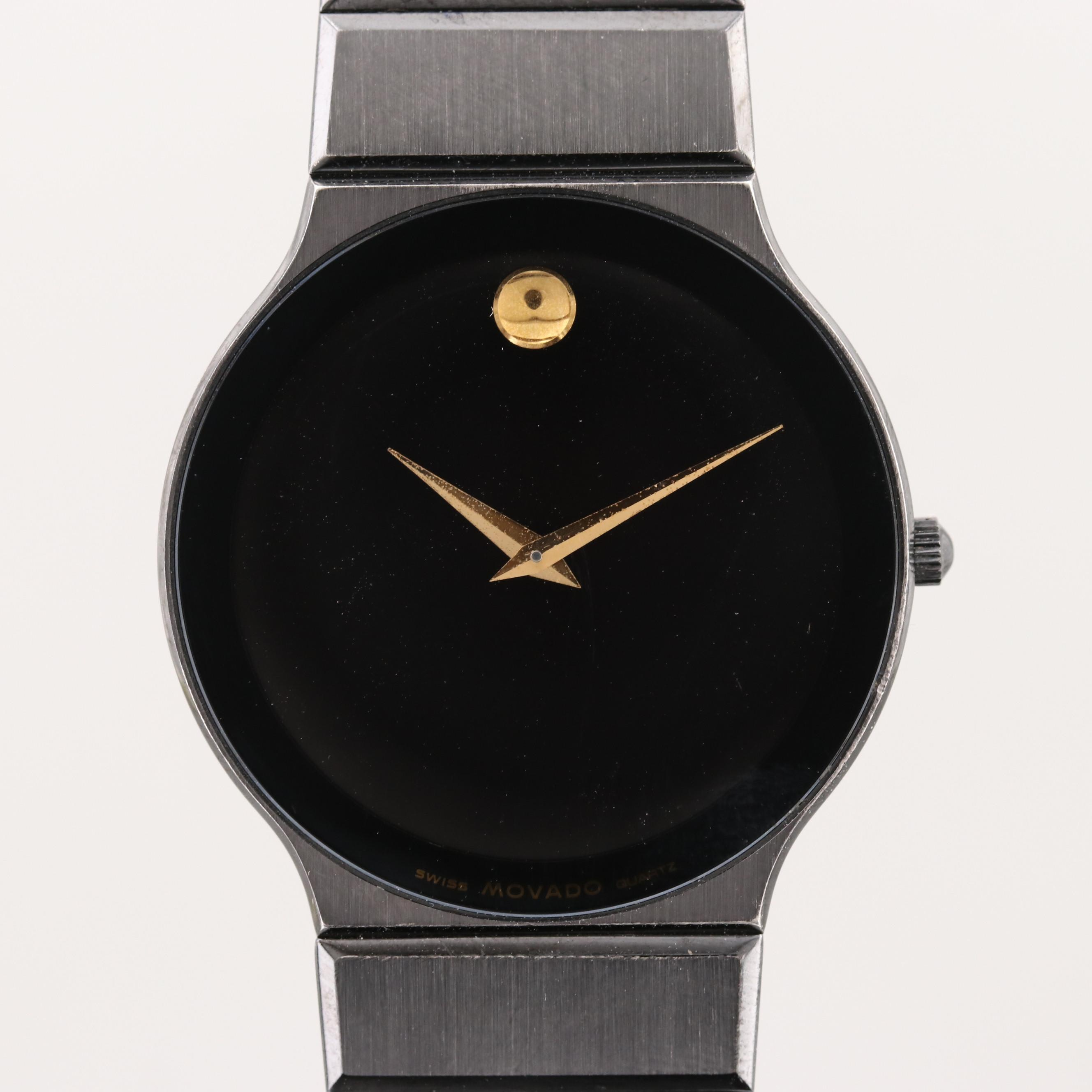 Vintage Movado Museum Ultra Thin Stainless Steel and Black PVD Quartz Wristwatch