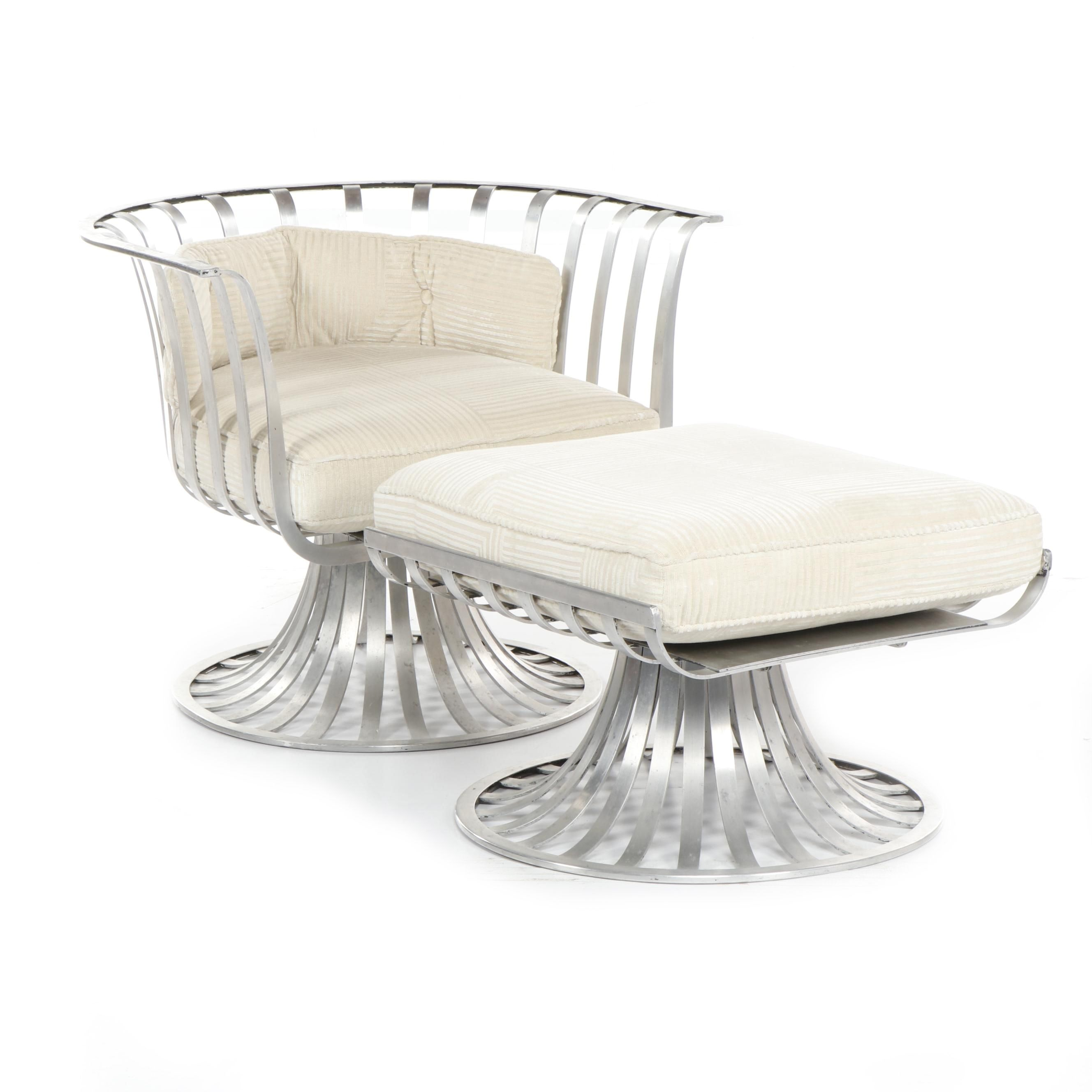 Russell Woodard Modern Aluminum Chair and Ottoman, 1960s