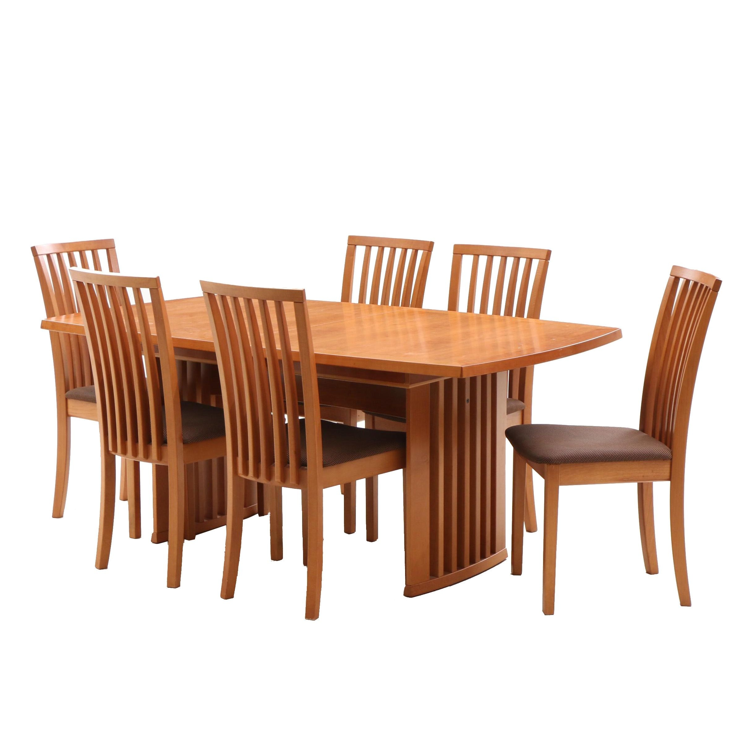 Danish Modern Maple Dining Table and Chairs by Skovby