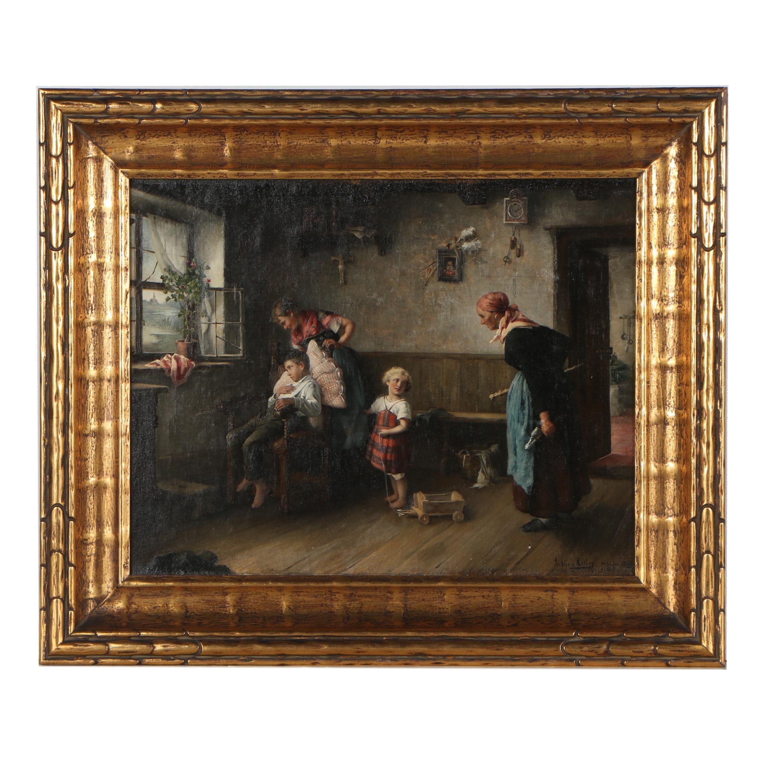 Arthur Keller Genre Scene Oil Painting, 1889