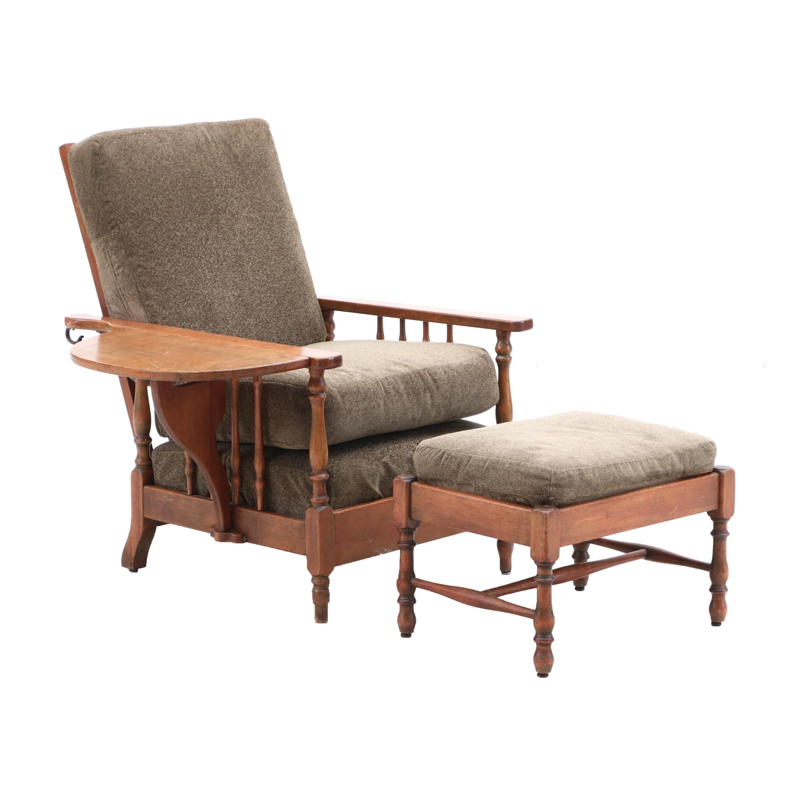 Walnut Drop Leaf Lounge Chair With Ottoman