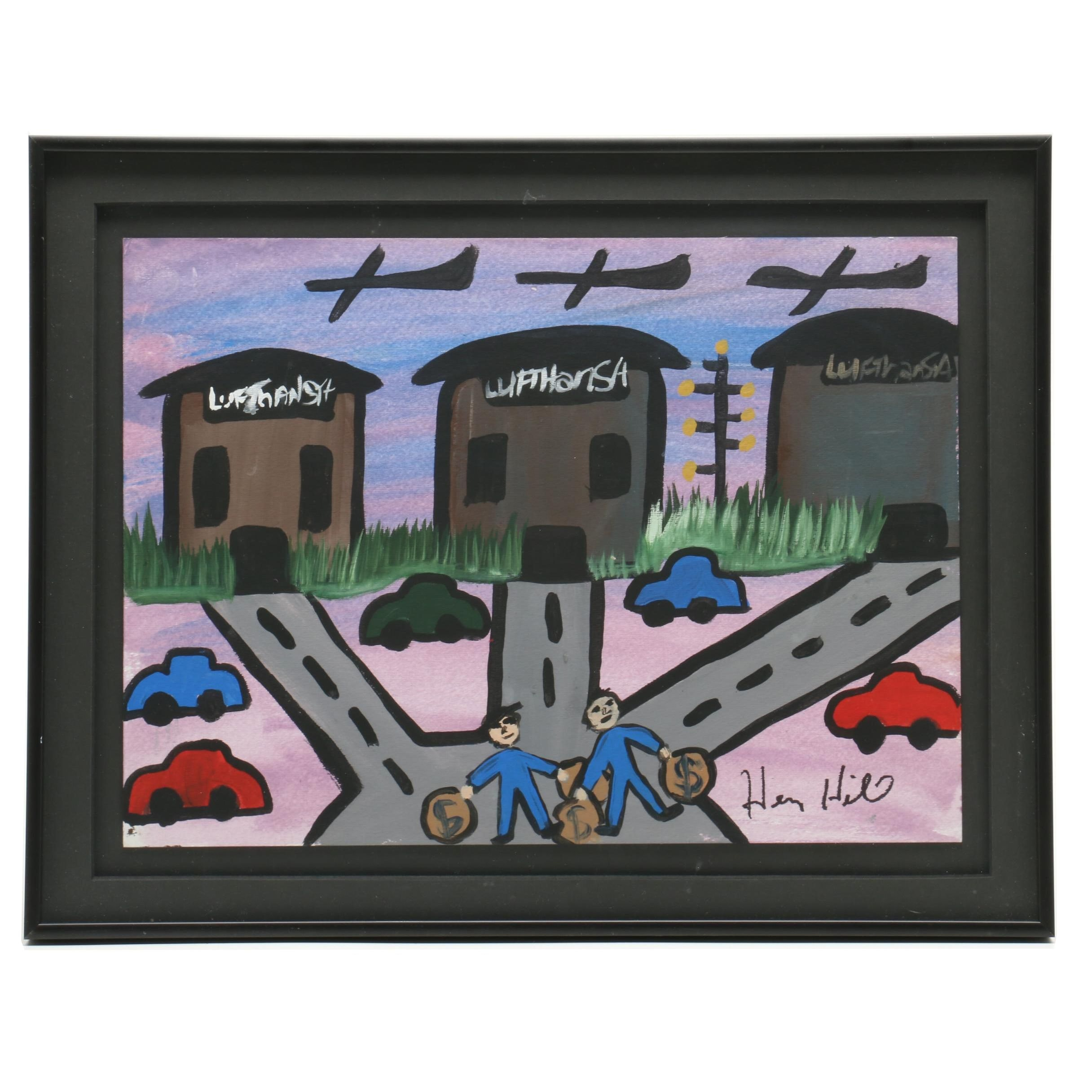 Henry Hill Lufthansa Heist Watercolor and Gouache Painting