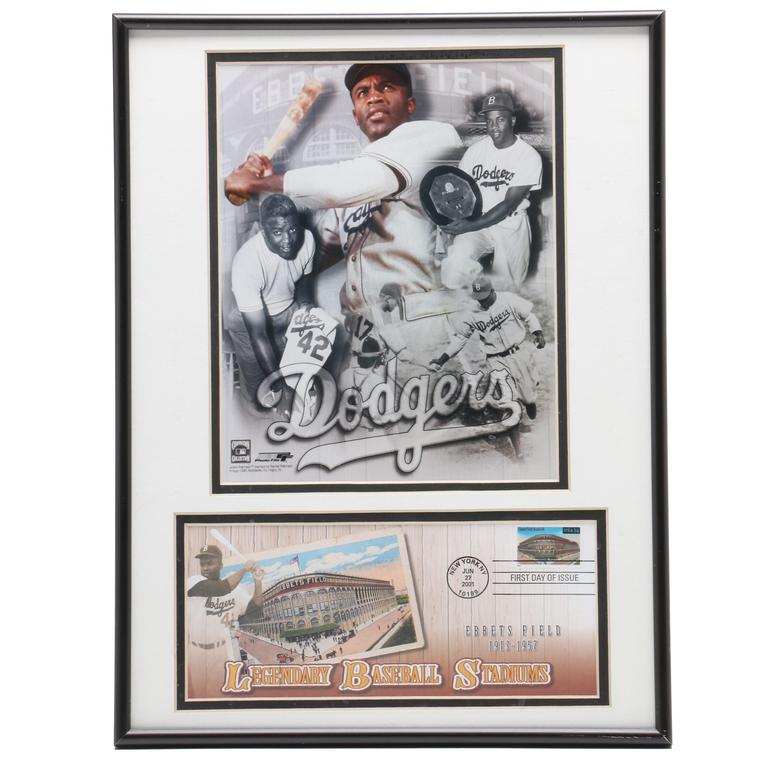 Framed Jackie Robinson and Ebbets Field Display