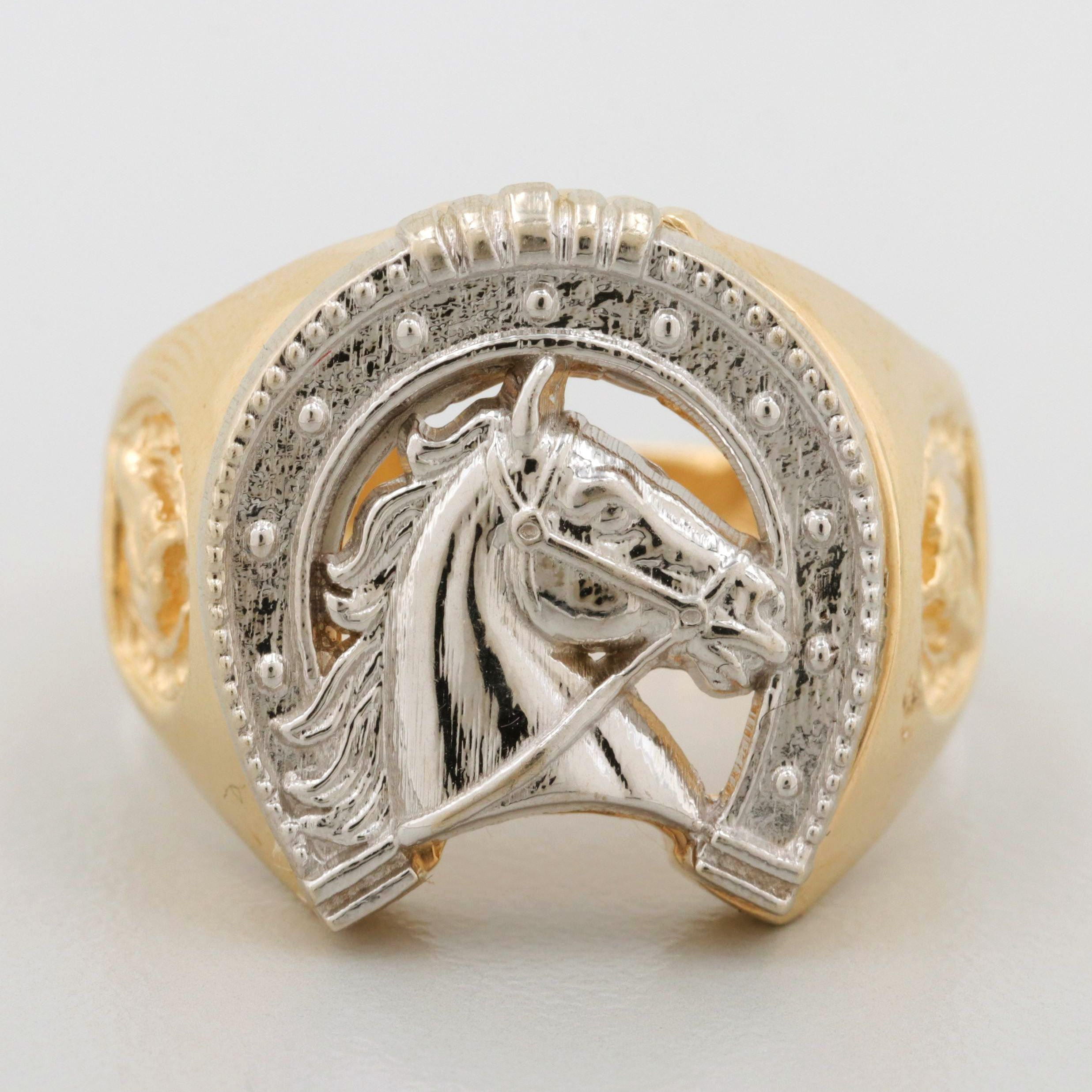 14K Yellow and White Gold Equestrian Ring
