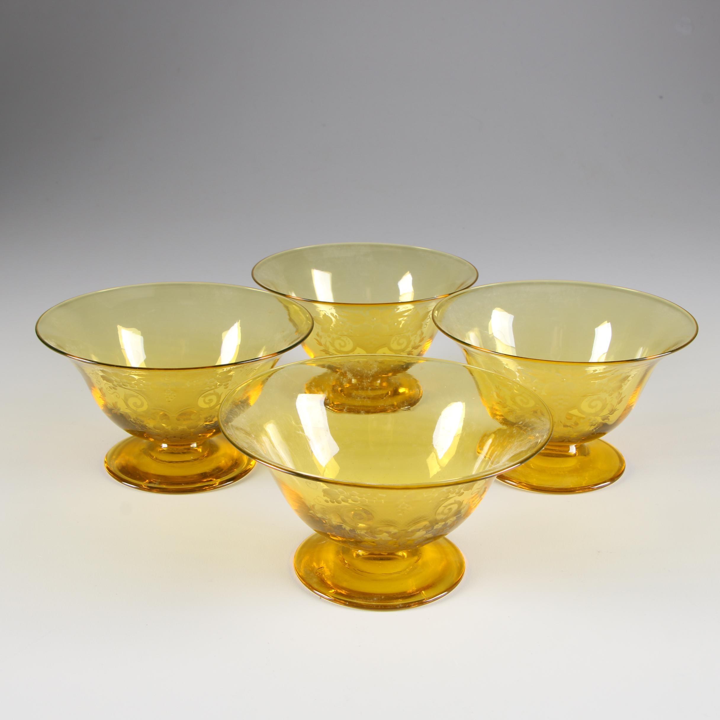 "Steuben Bristol Yellow ""Autumn"" Engraved Art Glass Sherbets, Early 20th Century"