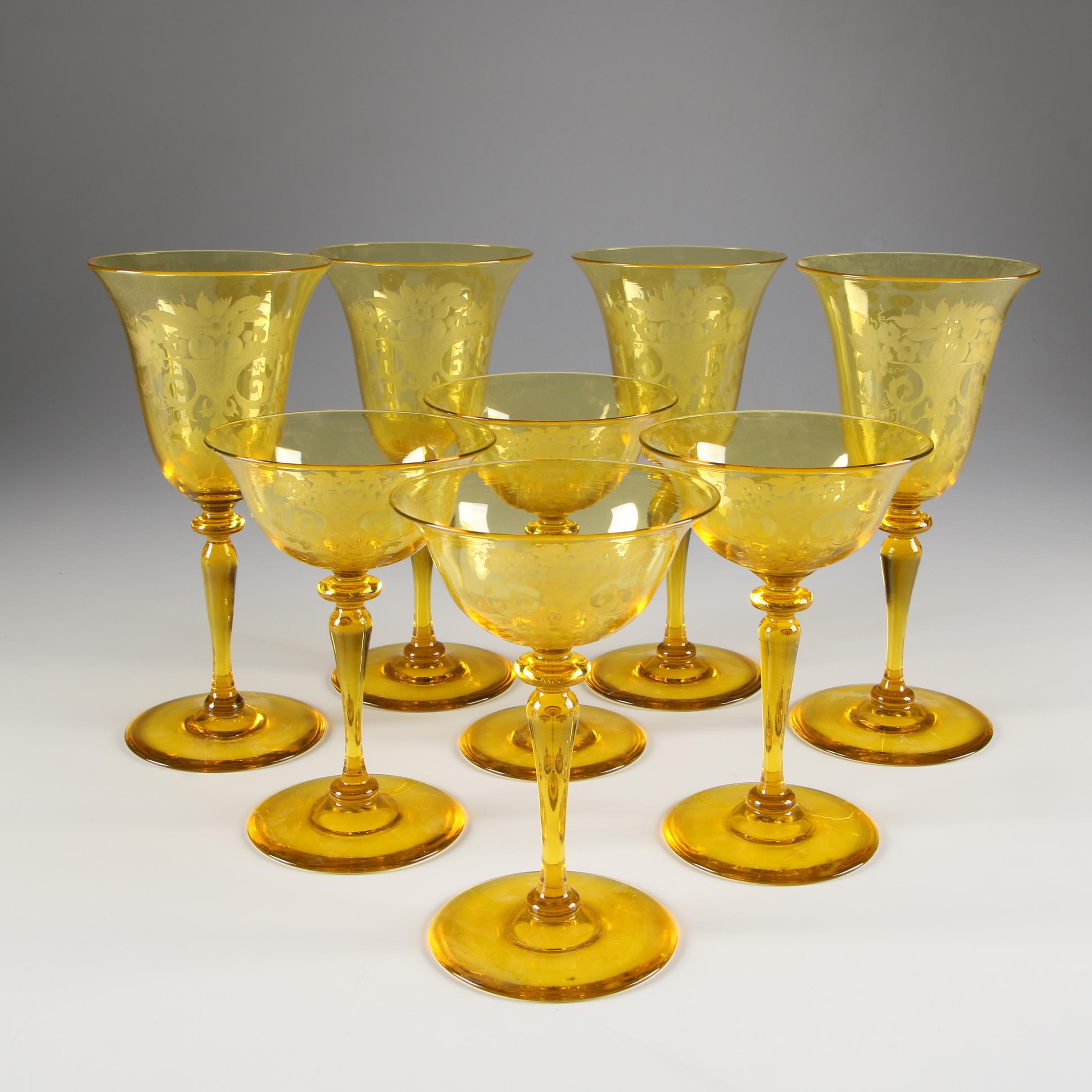 "Steuben Bristol Yellow ""Autumn"" Engraved Art Glass Champagne Coupes and Goblets"