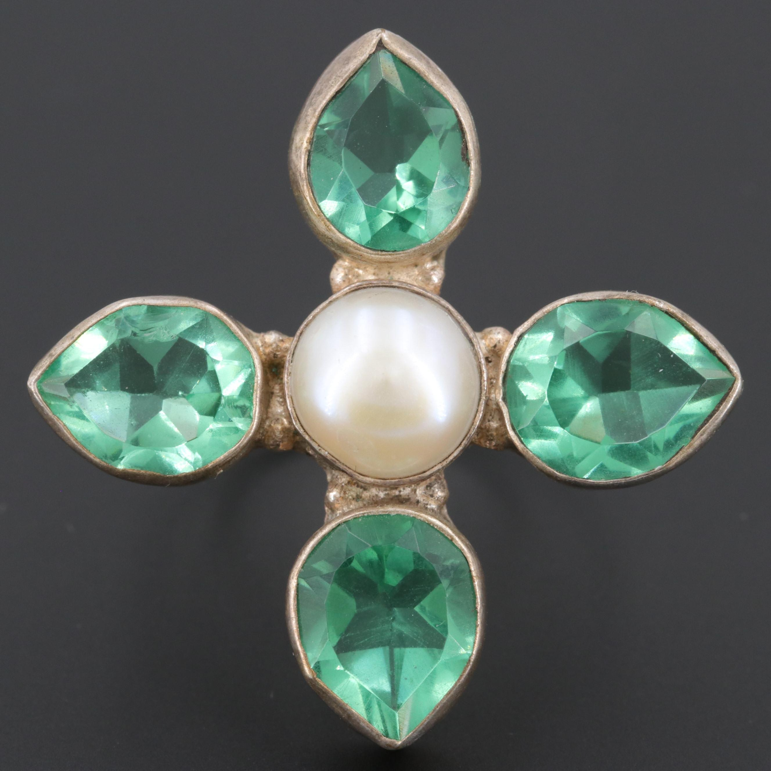Cultured Pearl and Glass Ring
