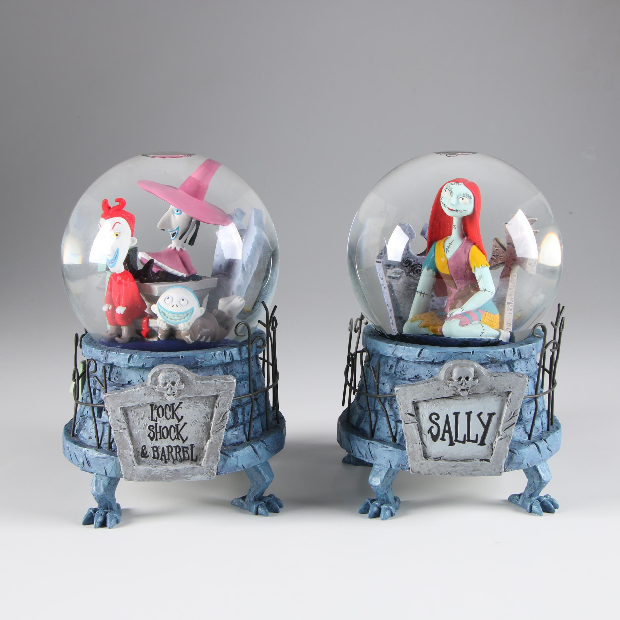 """Nightmare Before Christmas"" ""Lock, Shock & Barrel"" and ""Sally"" Snow Globes"