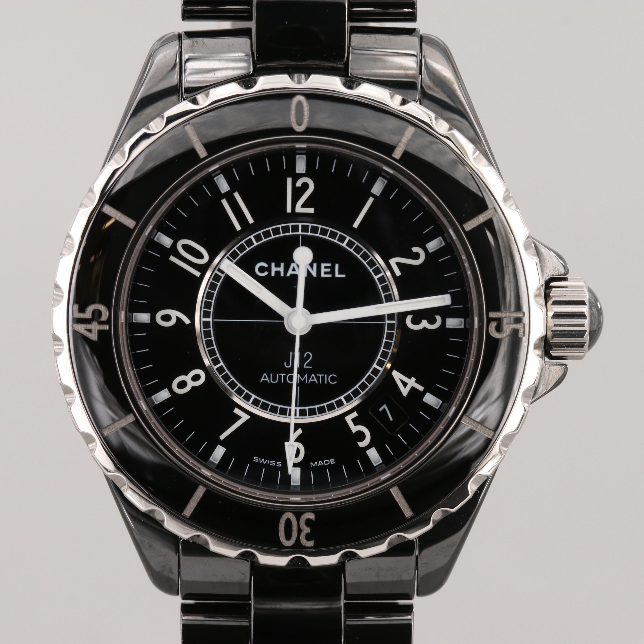 Chanel J12 Black Ceramic and Stainless Steel Automatic Wristwatch