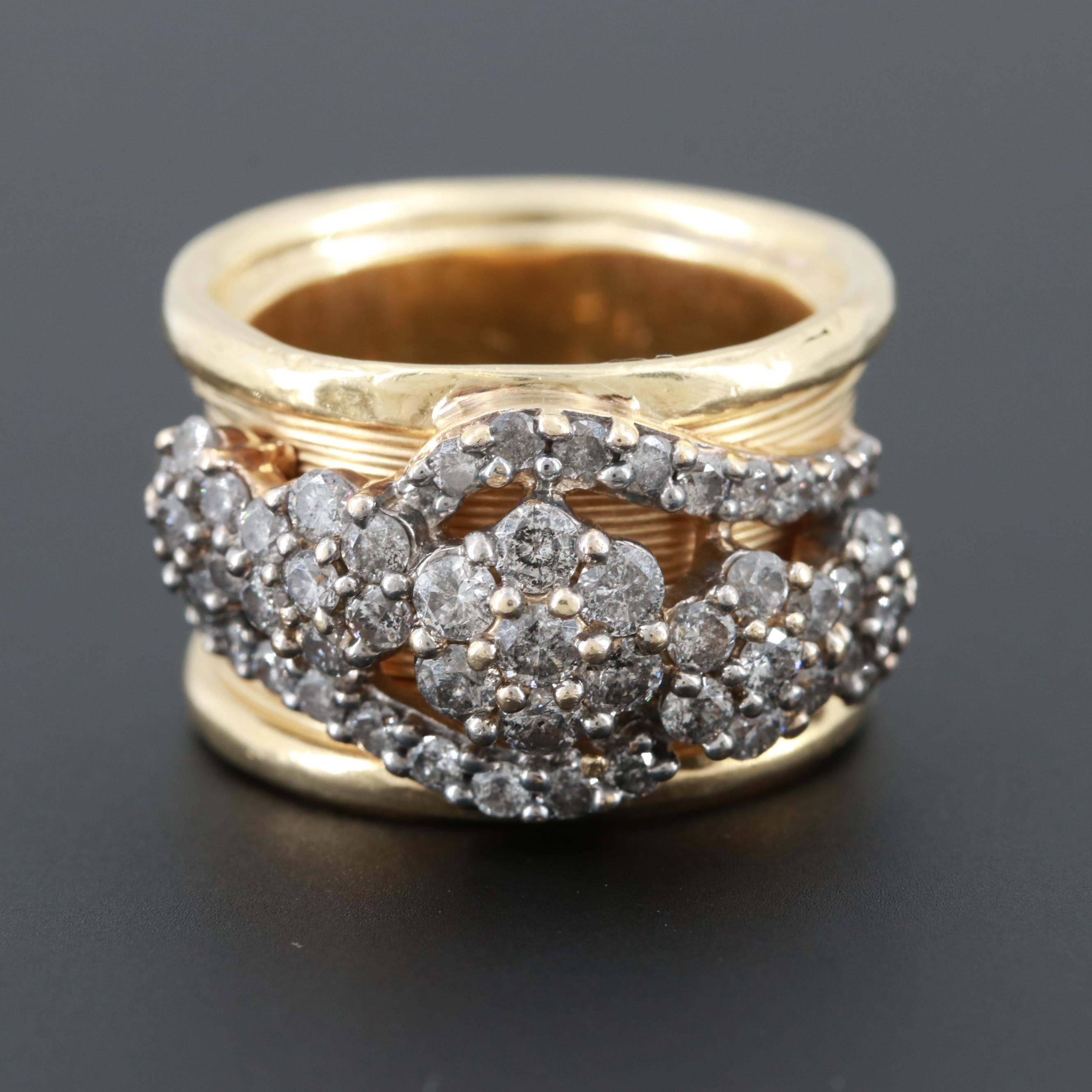 14K Yellow Gold 1.85 CTW Diamond Ring with 10K White Gold Accent