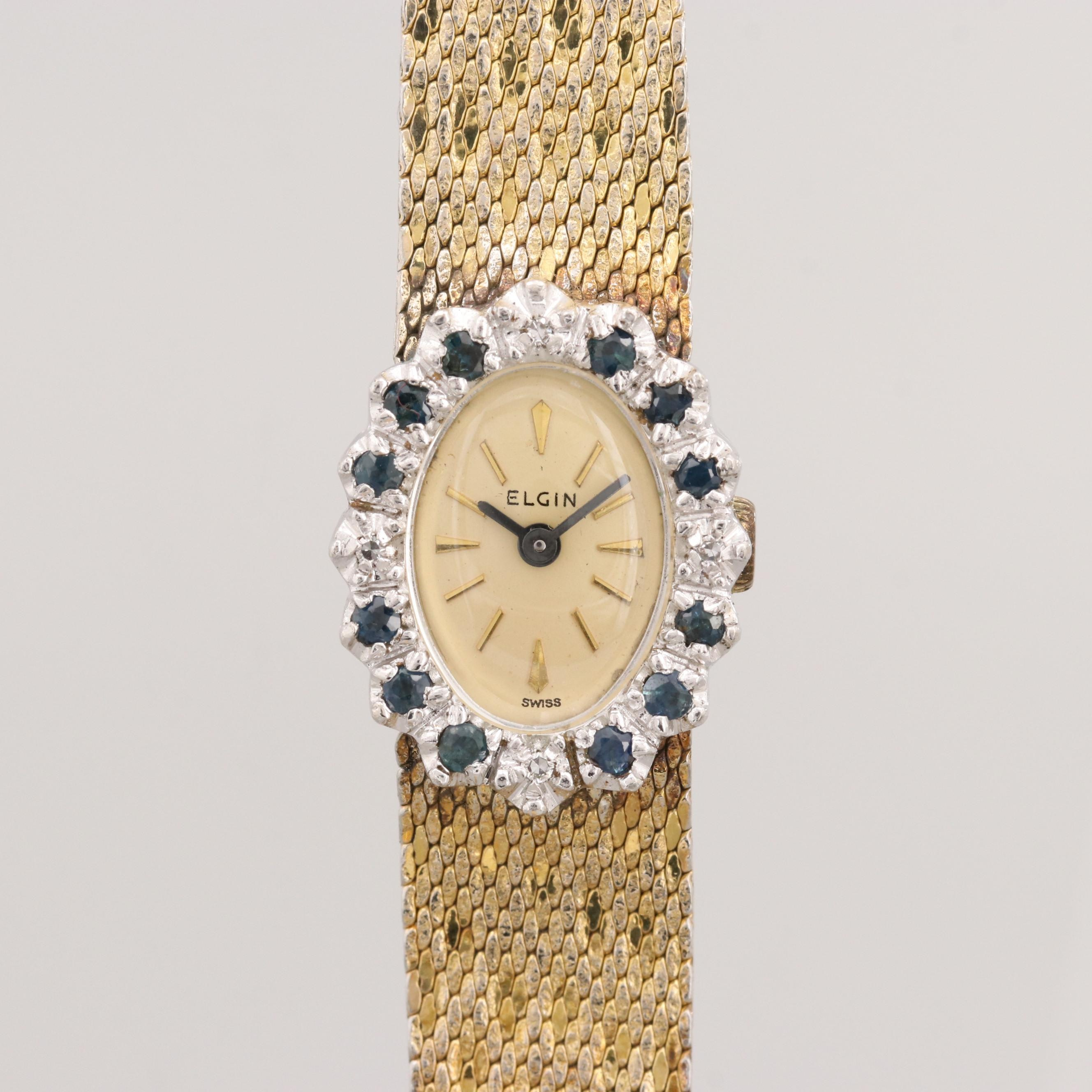 Vintage Elgin Gold Filled Stem Wind Wristwatch With Diamond and Sapphire Bezel