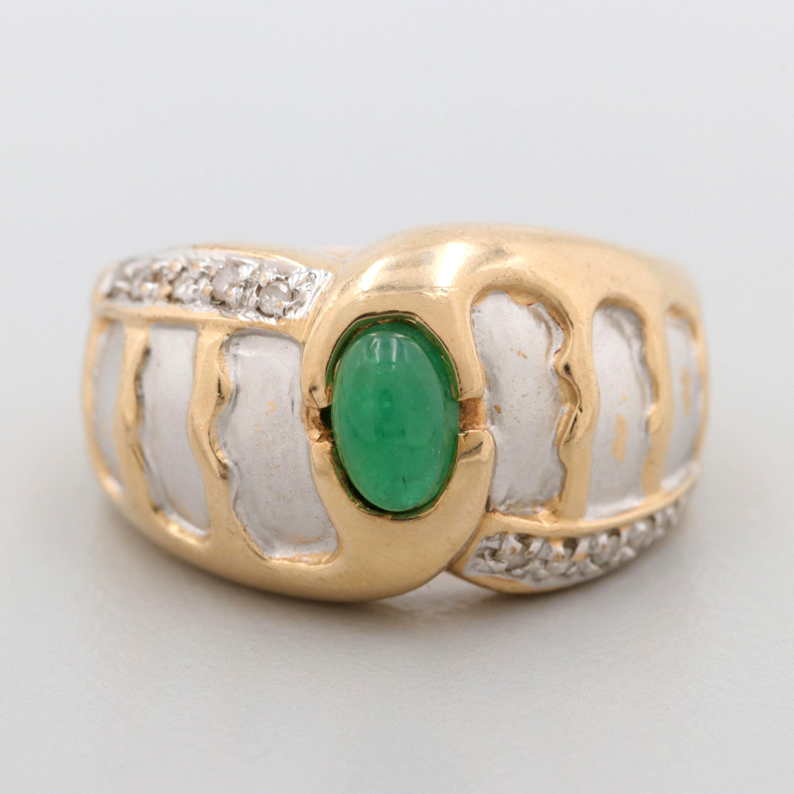 14K Yellow Gold Emerald and Diamond Ring with White Gold Accents