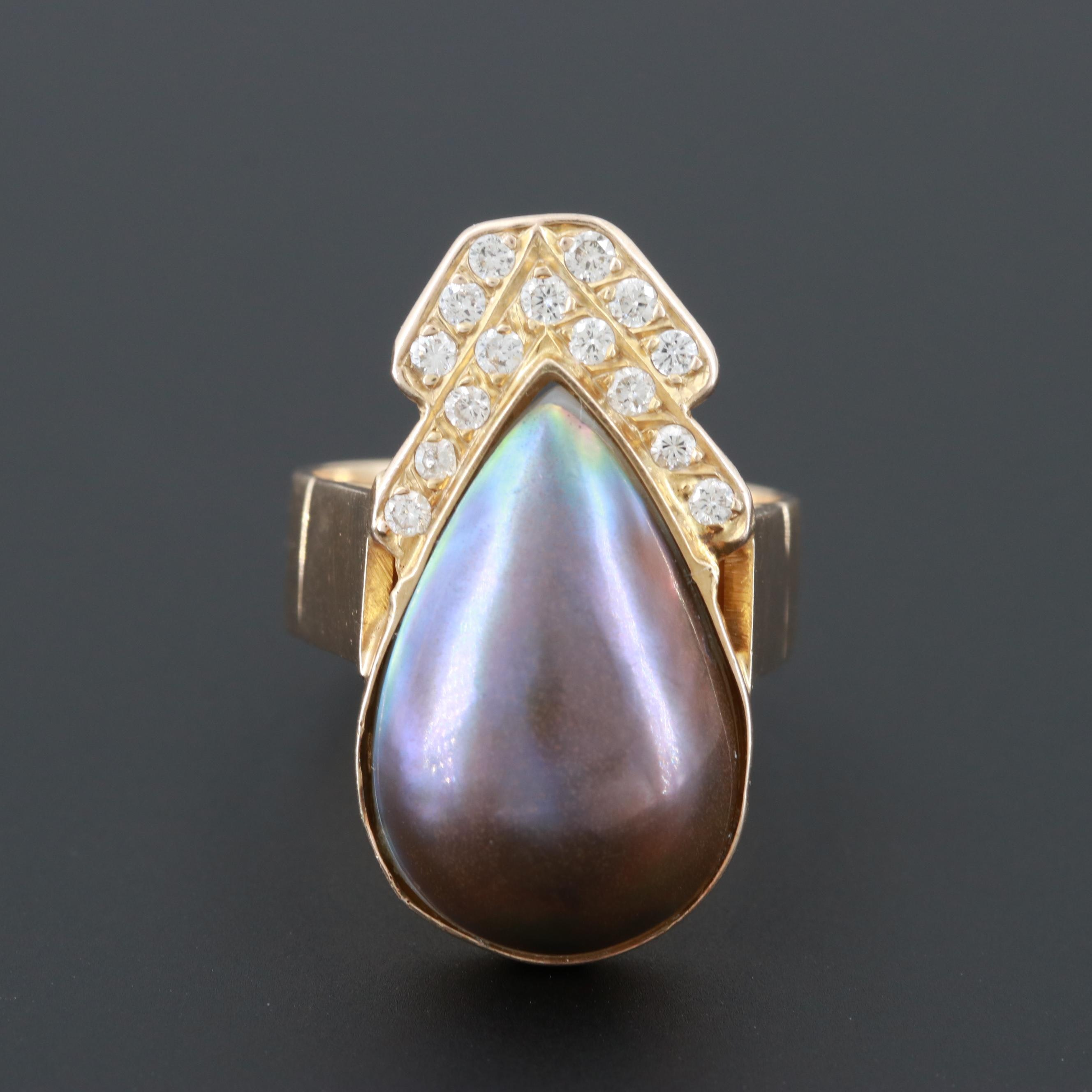14K and 10K Yellow Gold Cultured Pearl and Diamond Ring