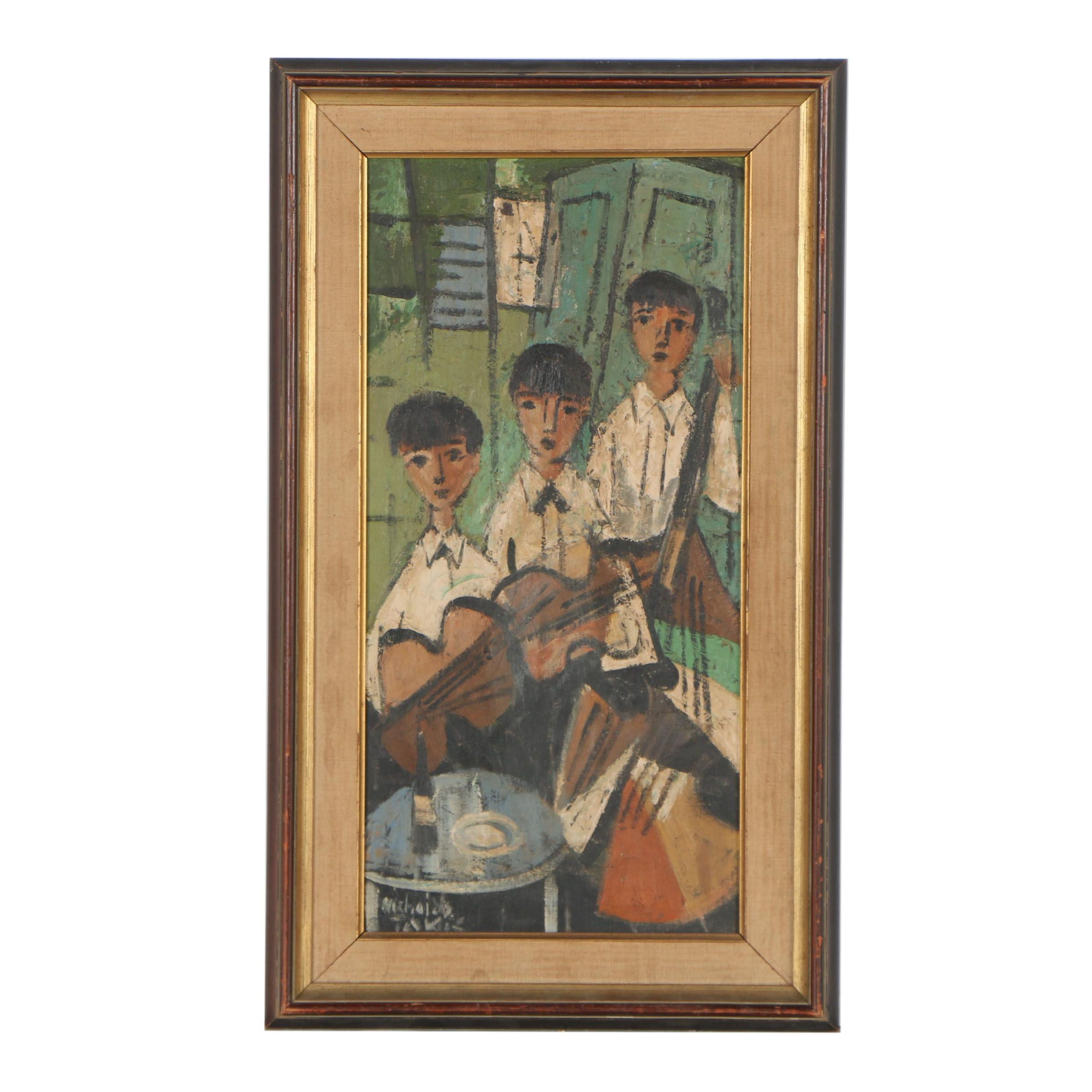 Nicholas Takis Oil Painting of Three Young Musicians