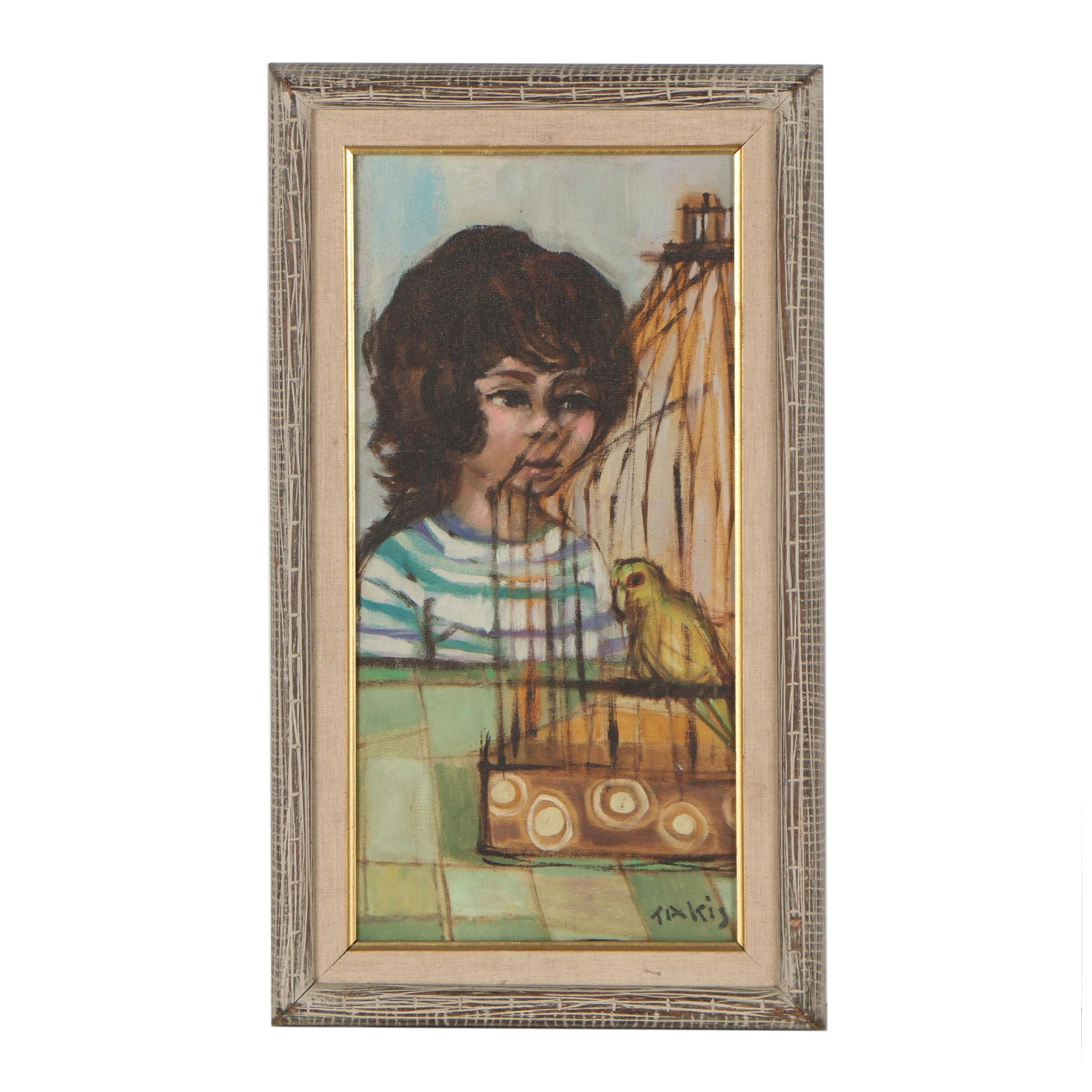 Nicholas Takis Portrait Oil Painting of Boy with Canary