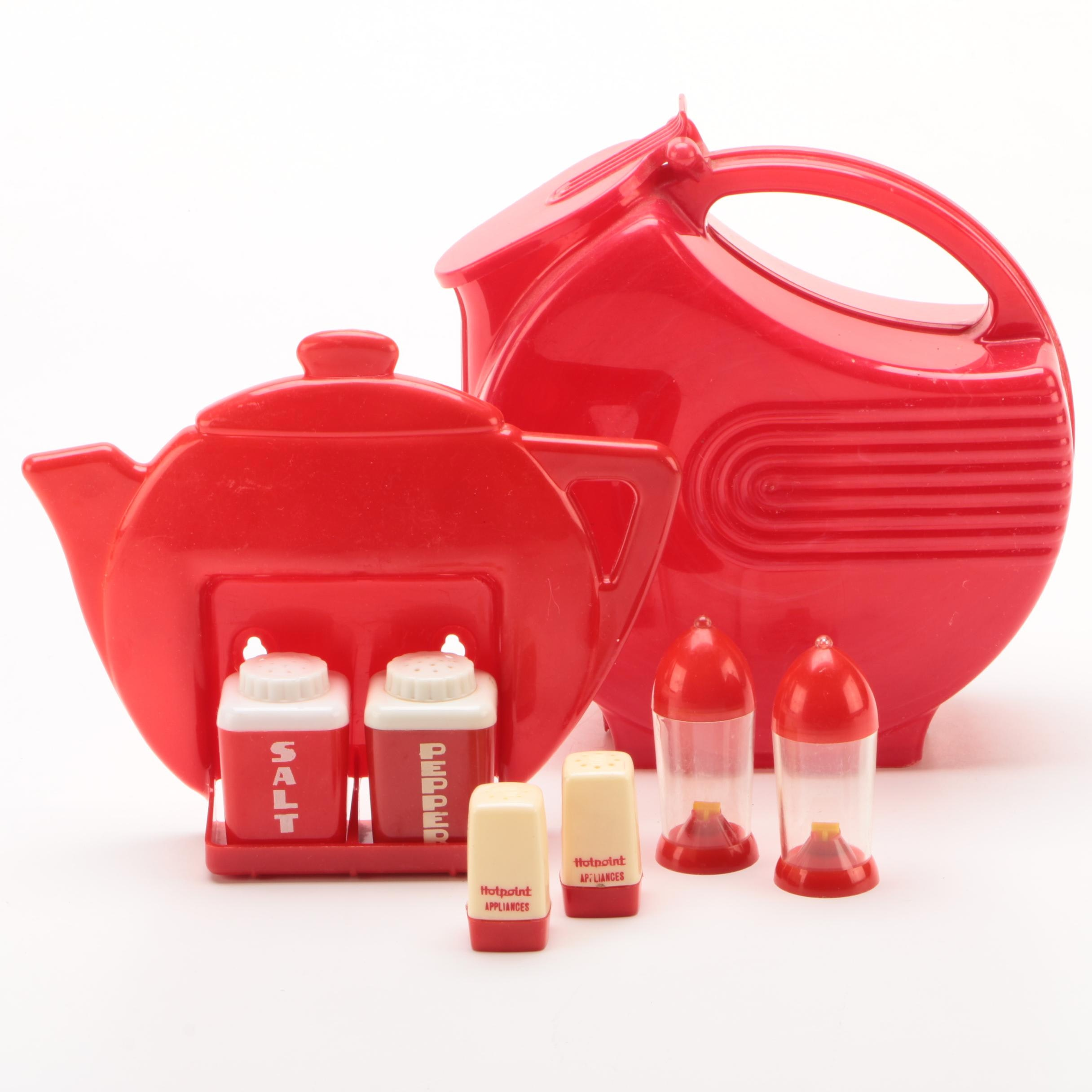 Burrite Pitcher with Red Plastic Shakers, Mid-Century