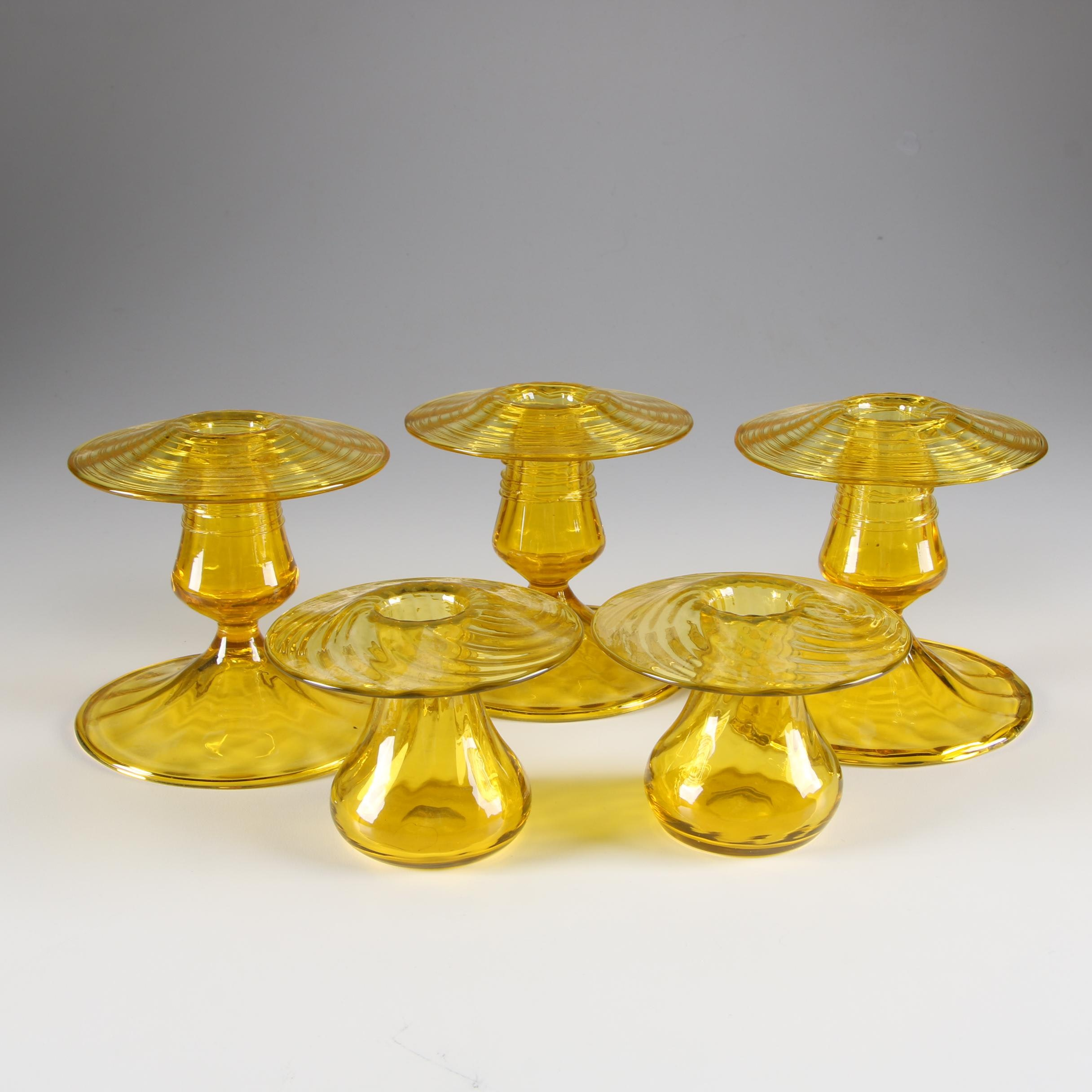 Steuben Bristol Yellow Reeded Candlesticks and Optic Ribbed Vases, 1903-1933