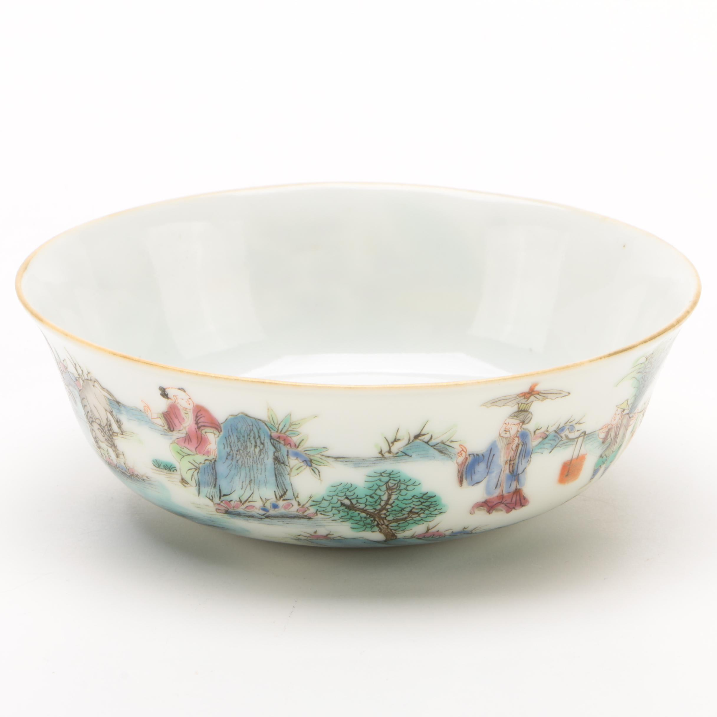 Chinese Hand-Painted Porcelain Bowl with Pastoral Scene, Qing Dynasty