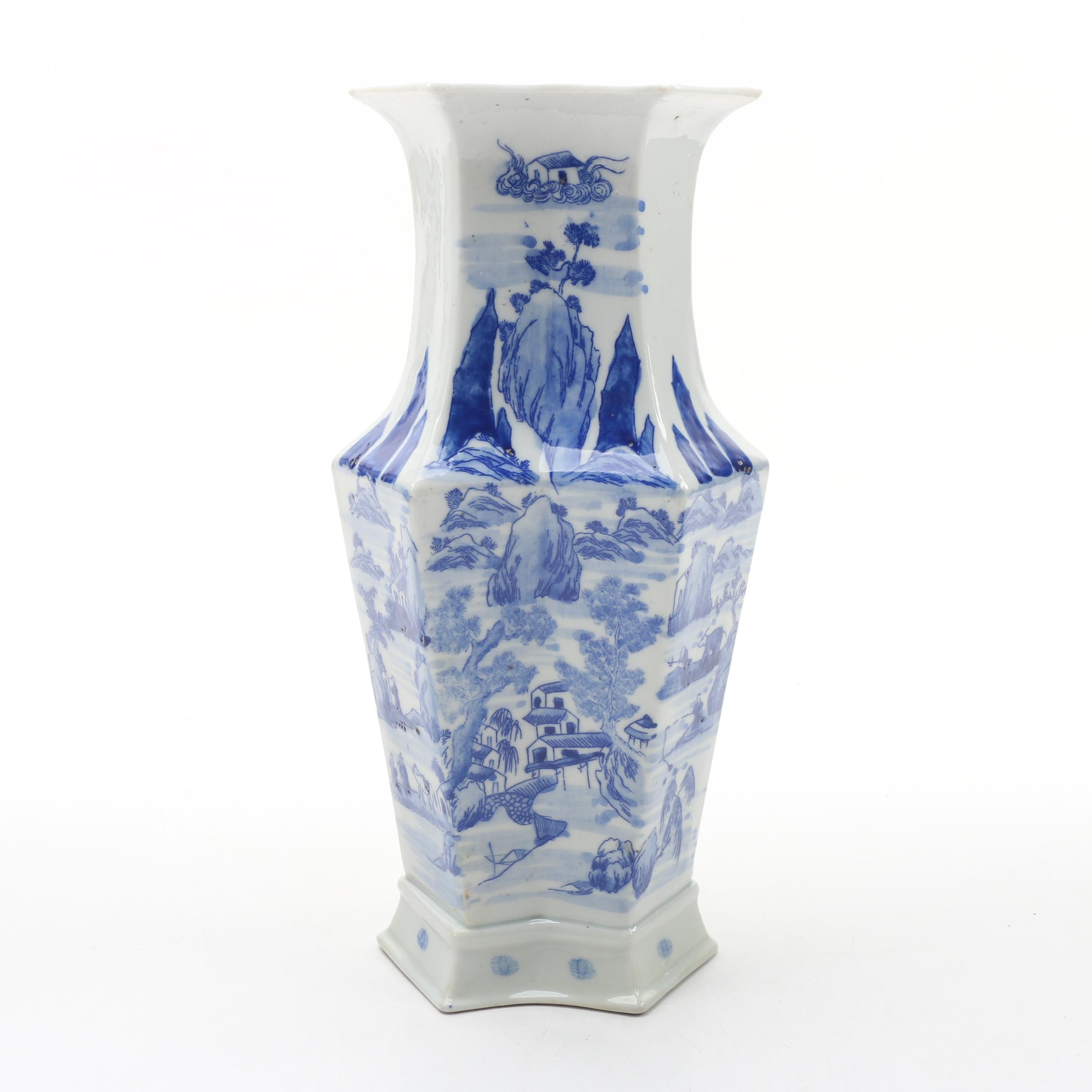 Chinese Blue and White Porcelain Vase with Rural Village Scene, Late Qing