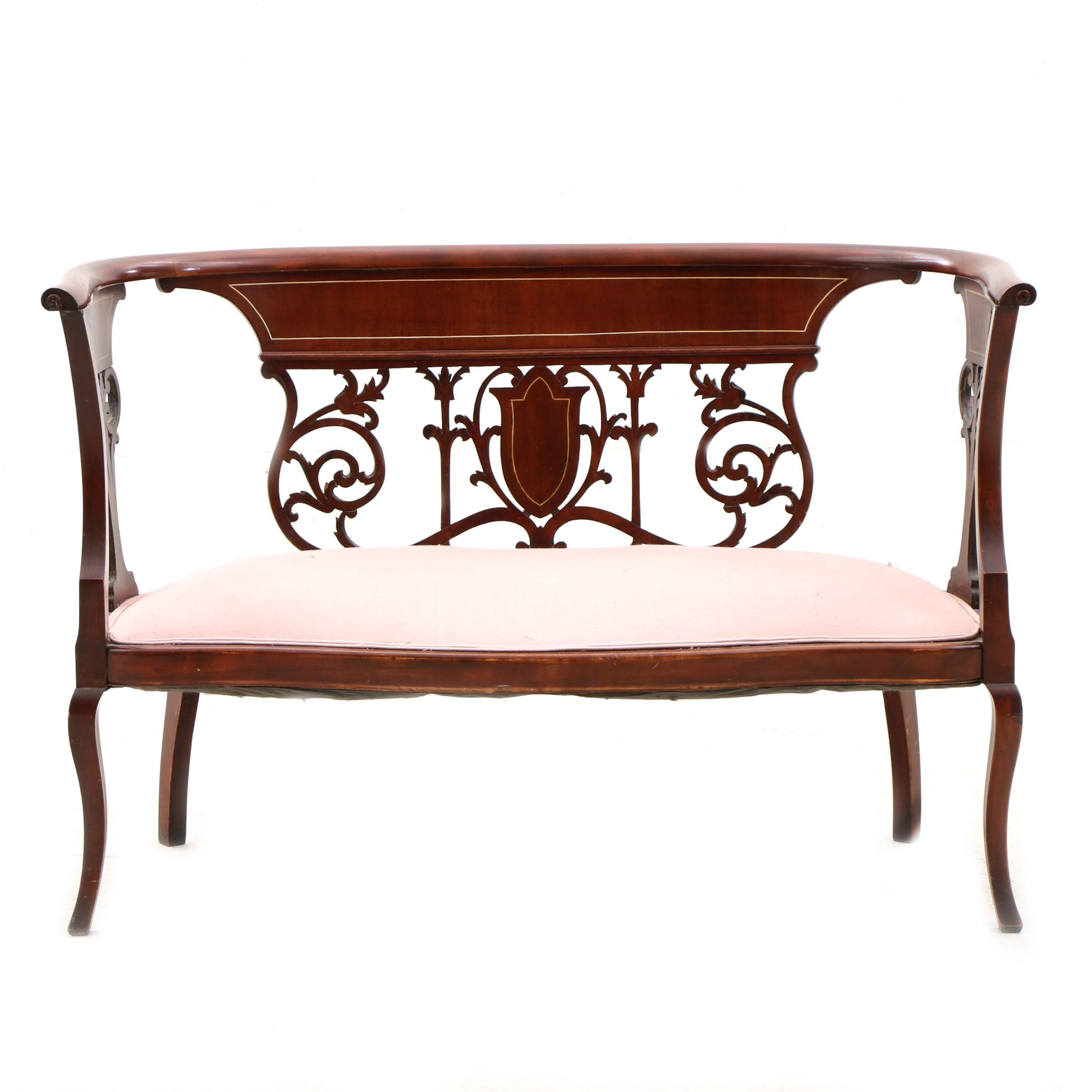 Colonial Revival Mahogany and Birch Settee With Bone Inlays