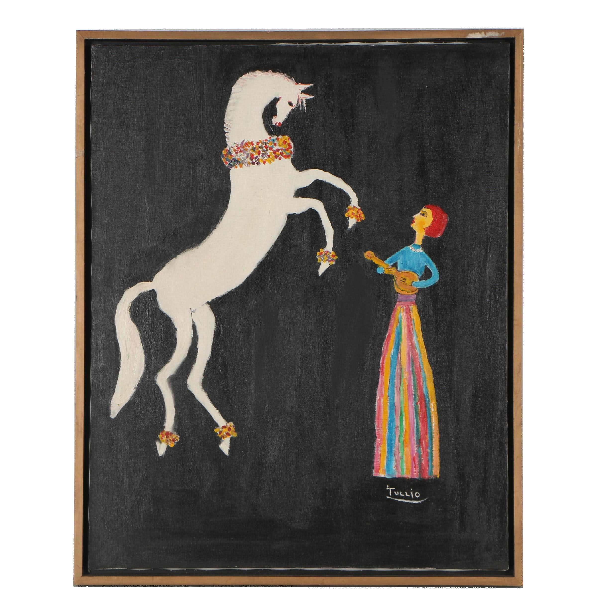 Charles Tullio Oil Painting of Woman with Horse