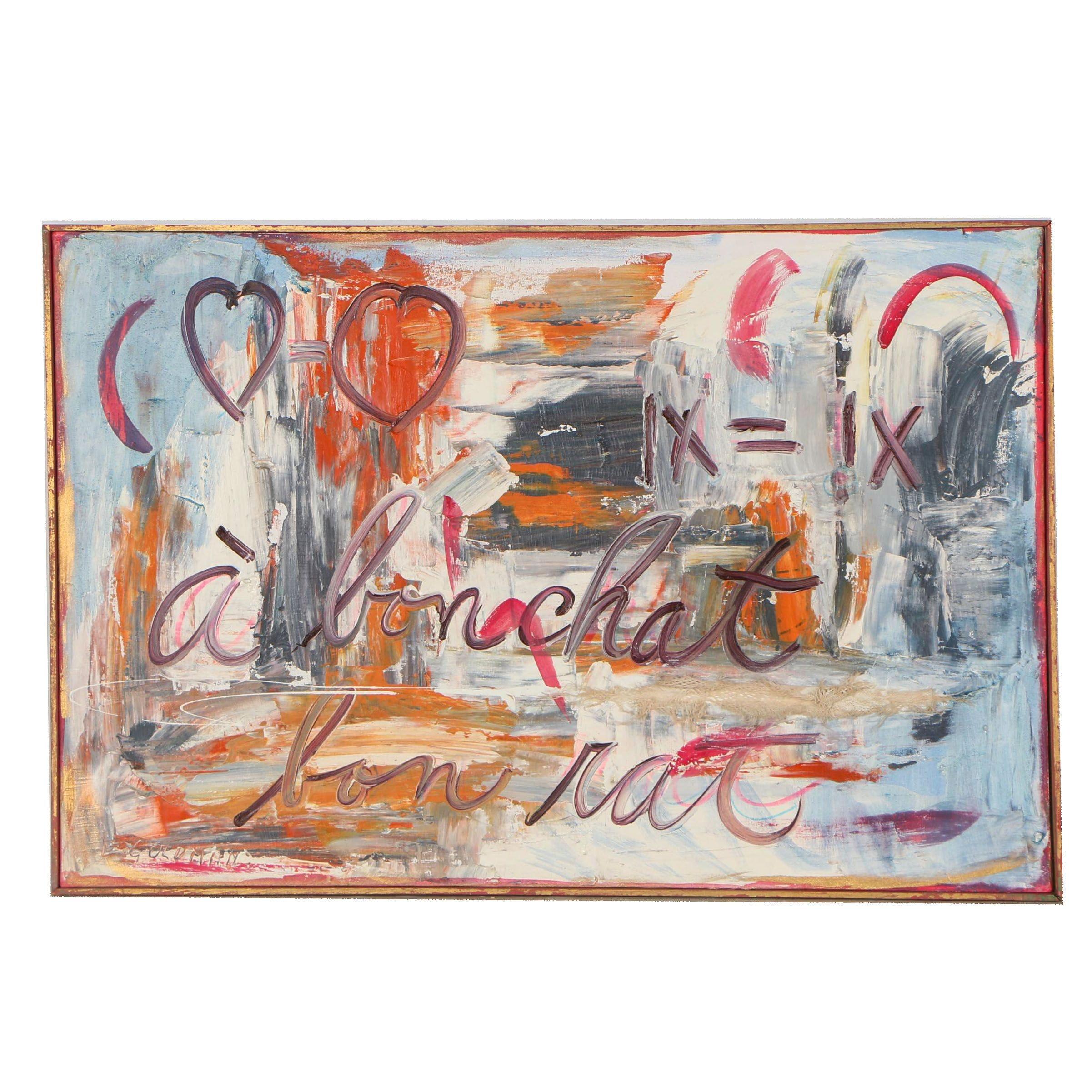 """E. Goldman 1985 Oil Painting """"A Bon Chat Bon Rat"""""""