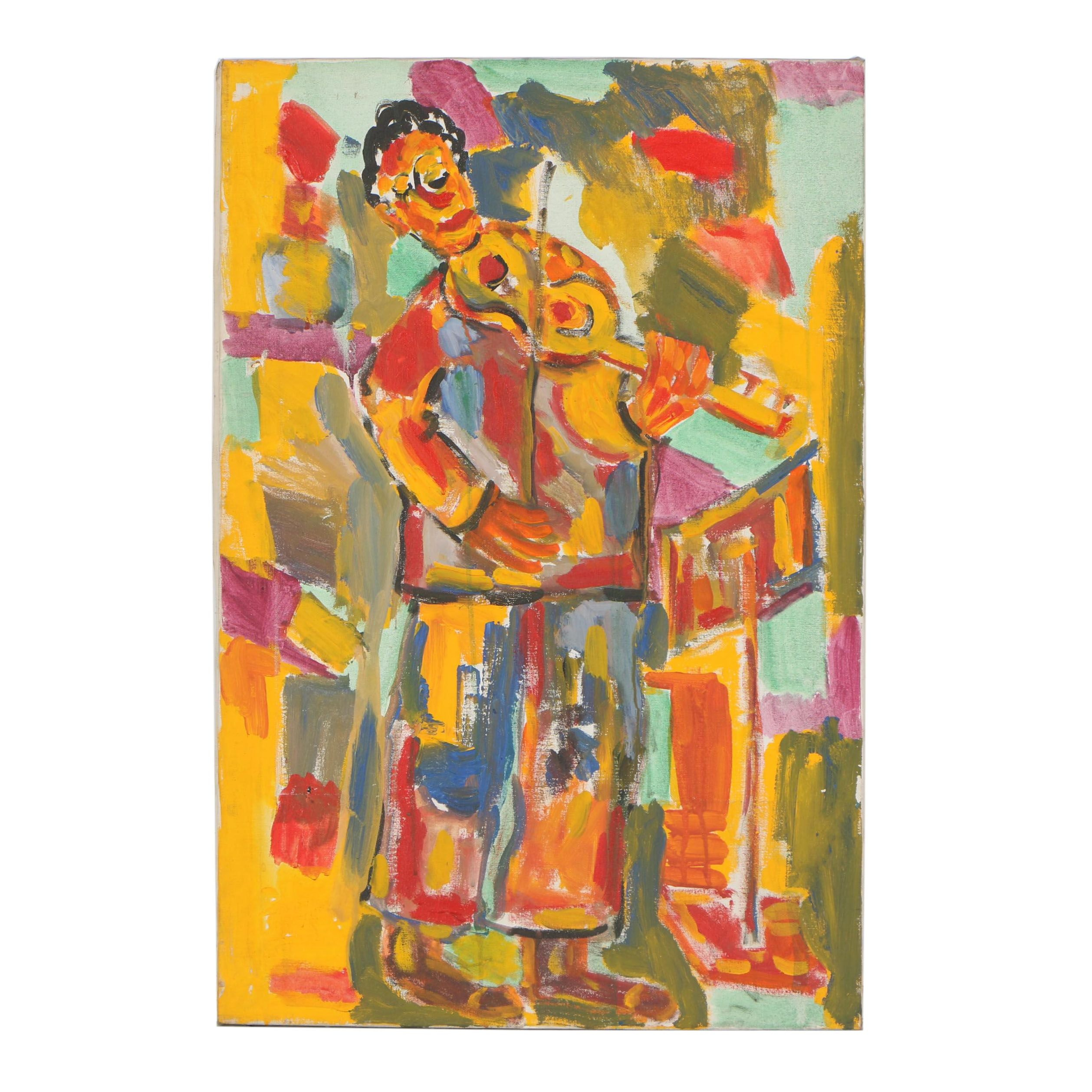 Late 20th Century Abstract Oil Painting of Violinist