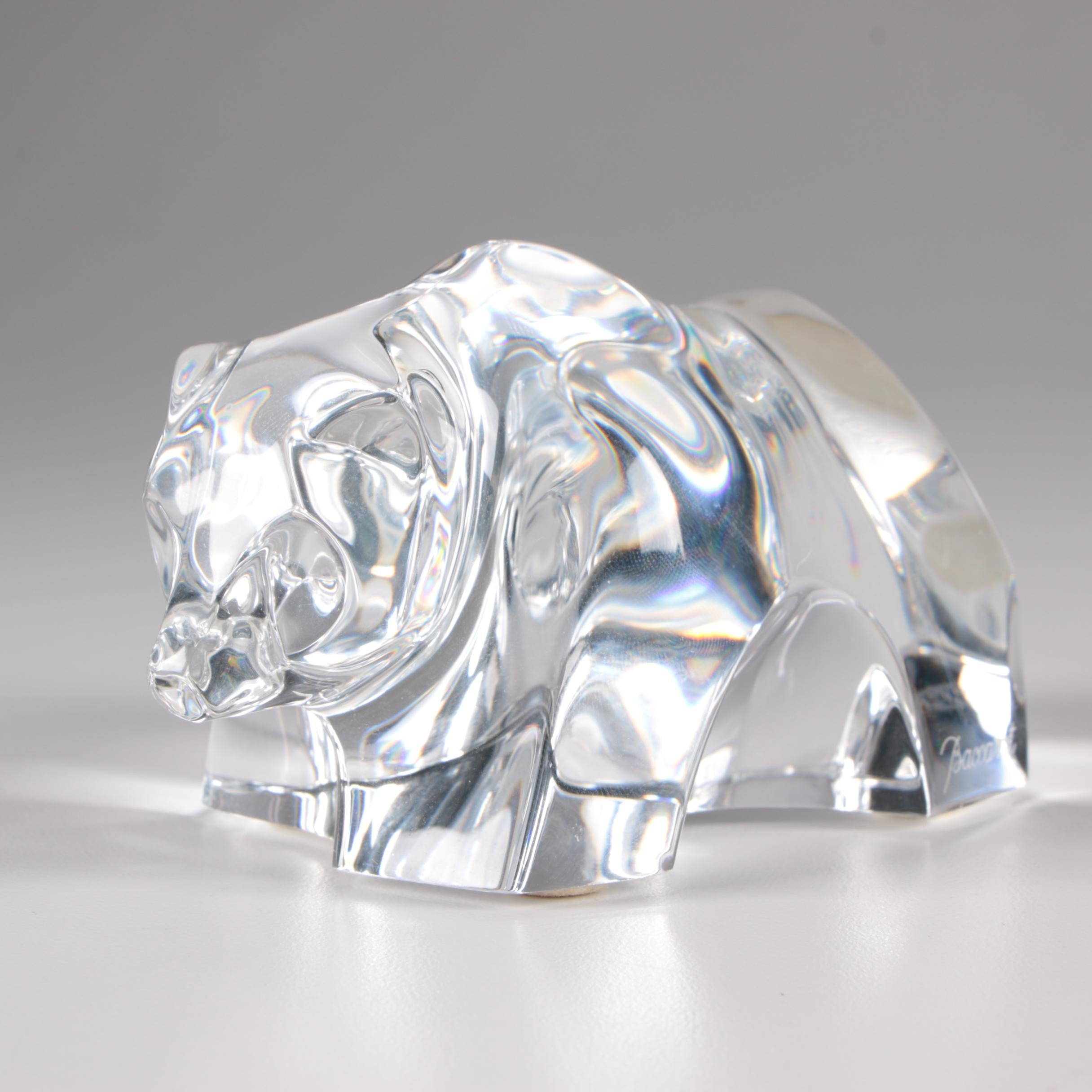 Baccarat Art Glass Grizzly Bear Figurine