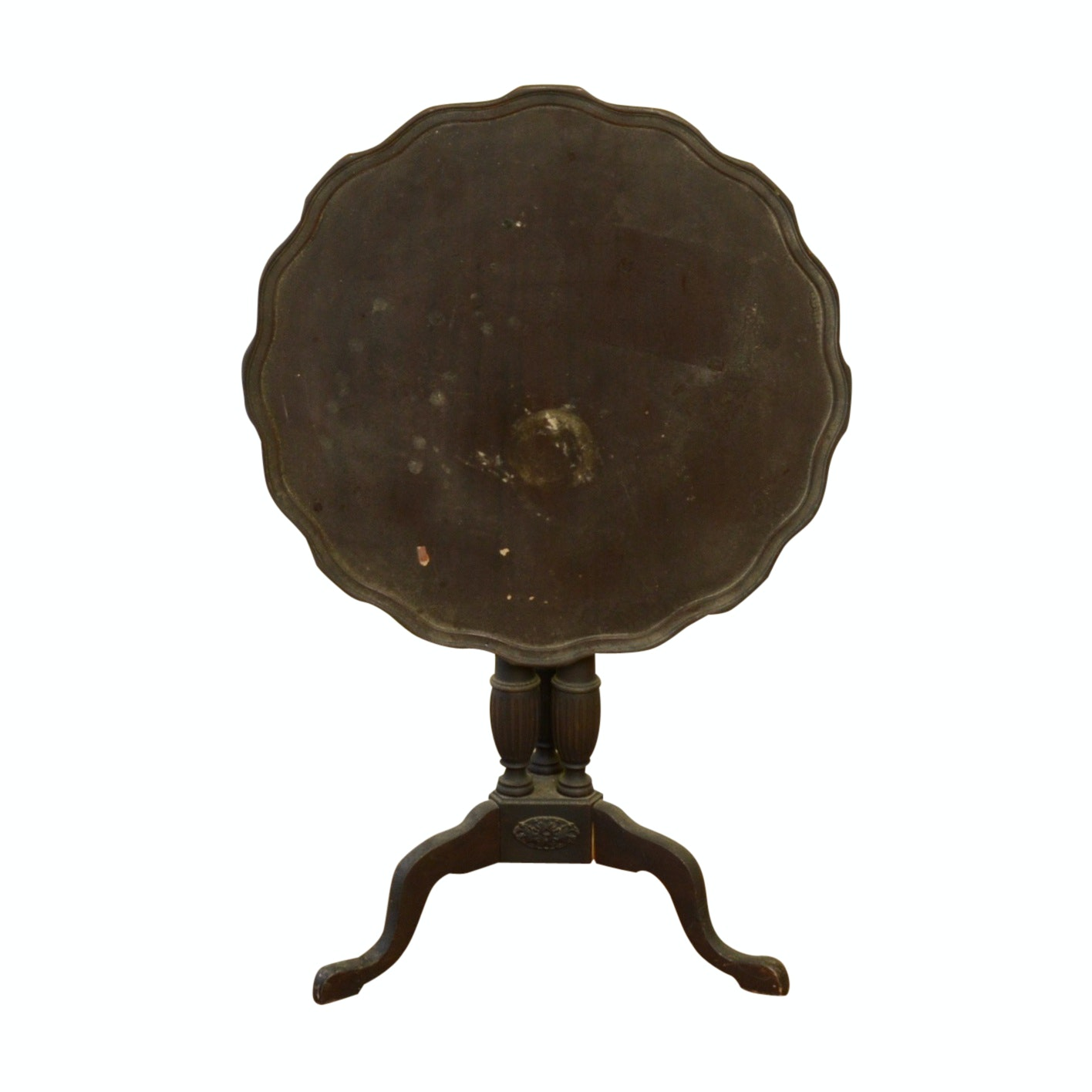 Transitional Mahogany Tilt Top Table, Early to Mid 20th Century