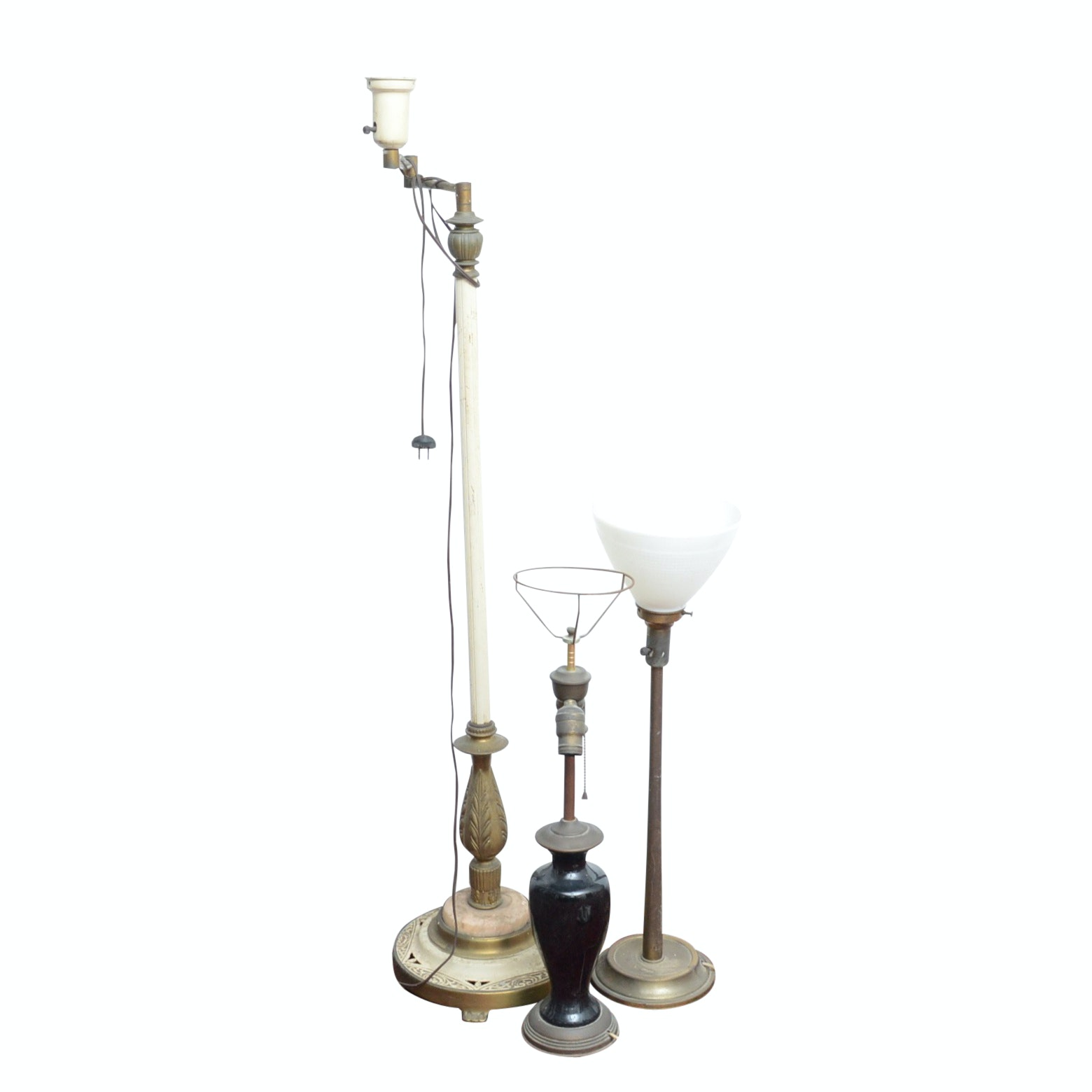 Swing Arm Floor Lamp and Torchiere Table Lamps