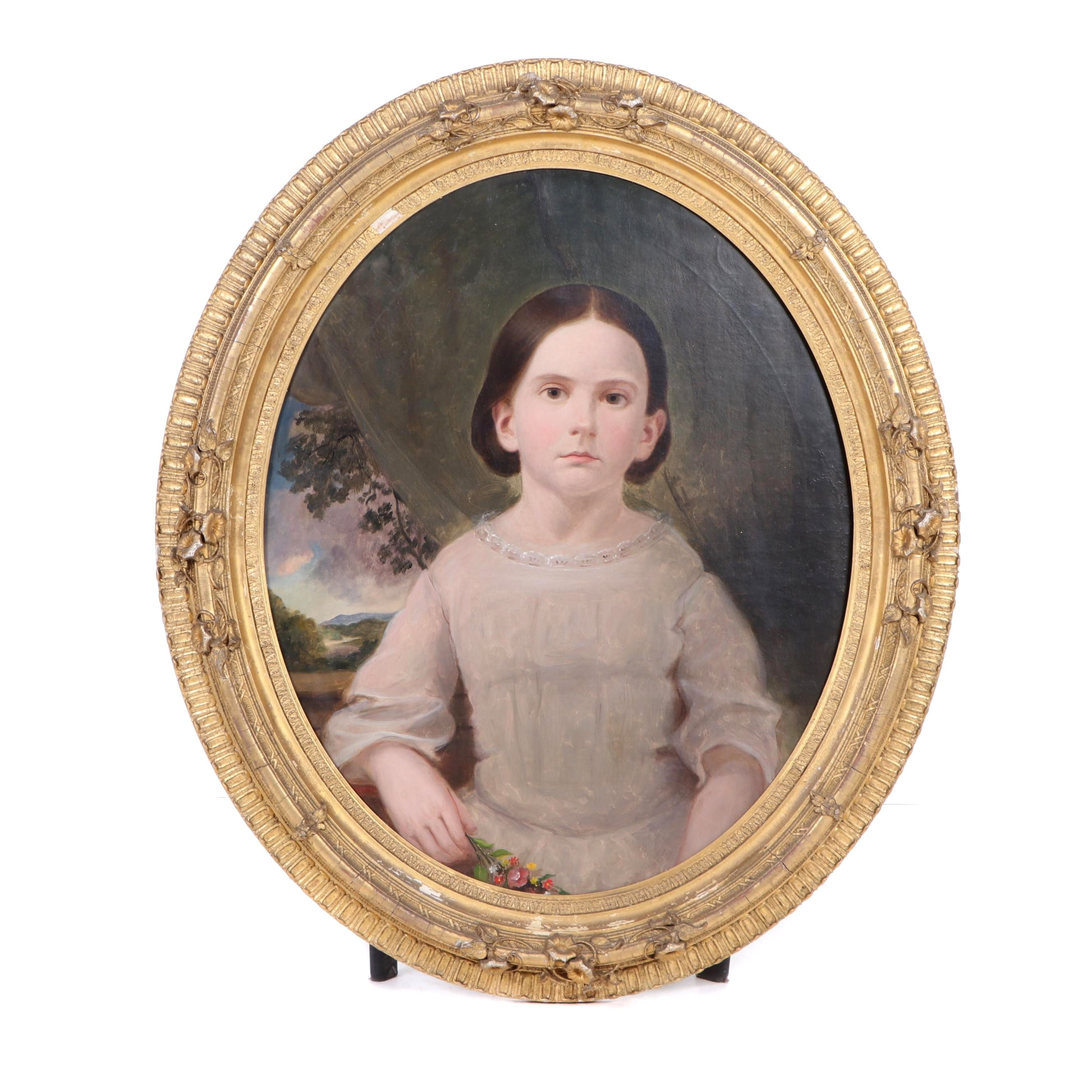 Late 19th Century Oil Portrait of a Young Girl
