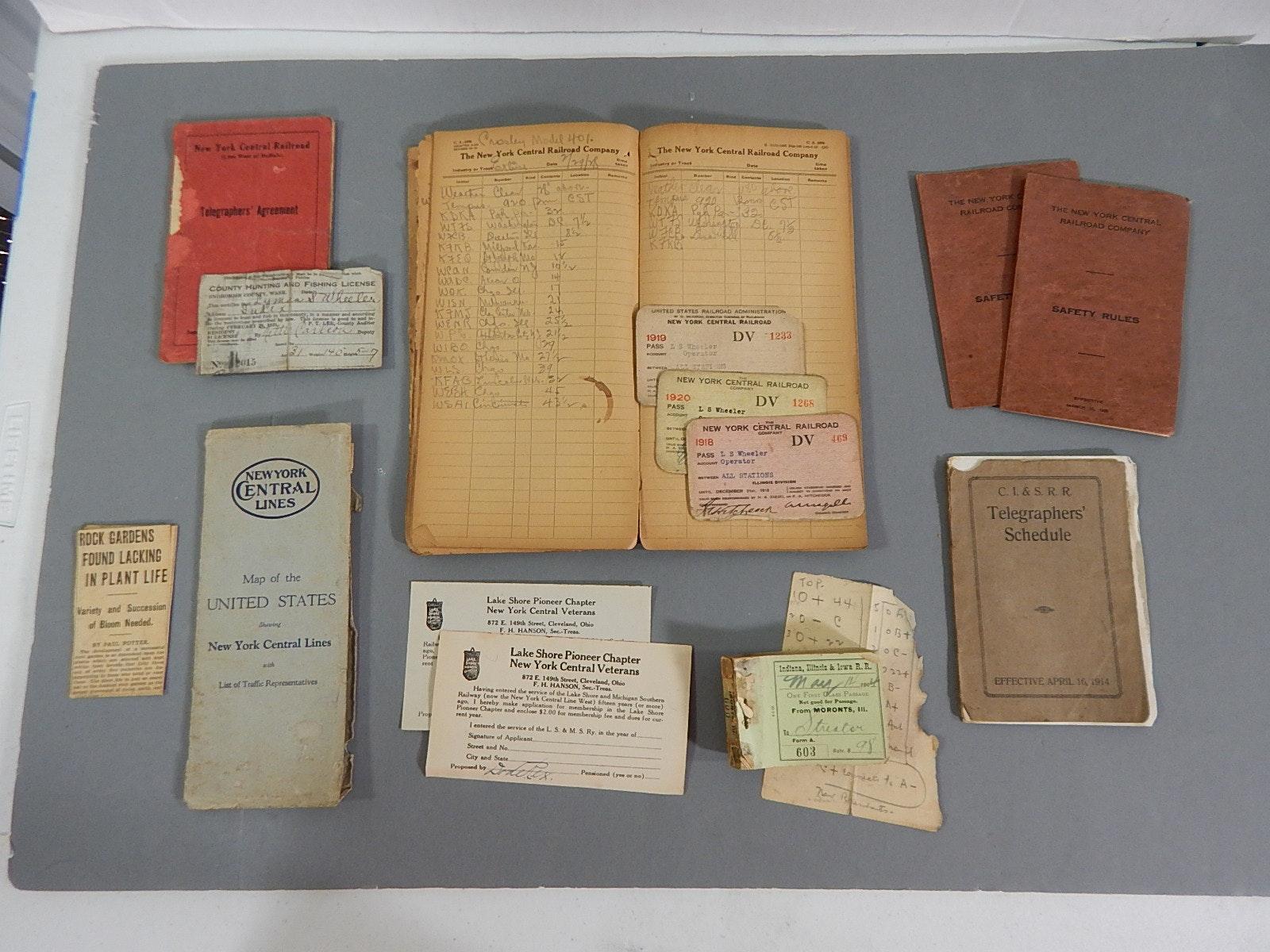 Early 1920s Railroad Train Journal Book and Ephemera