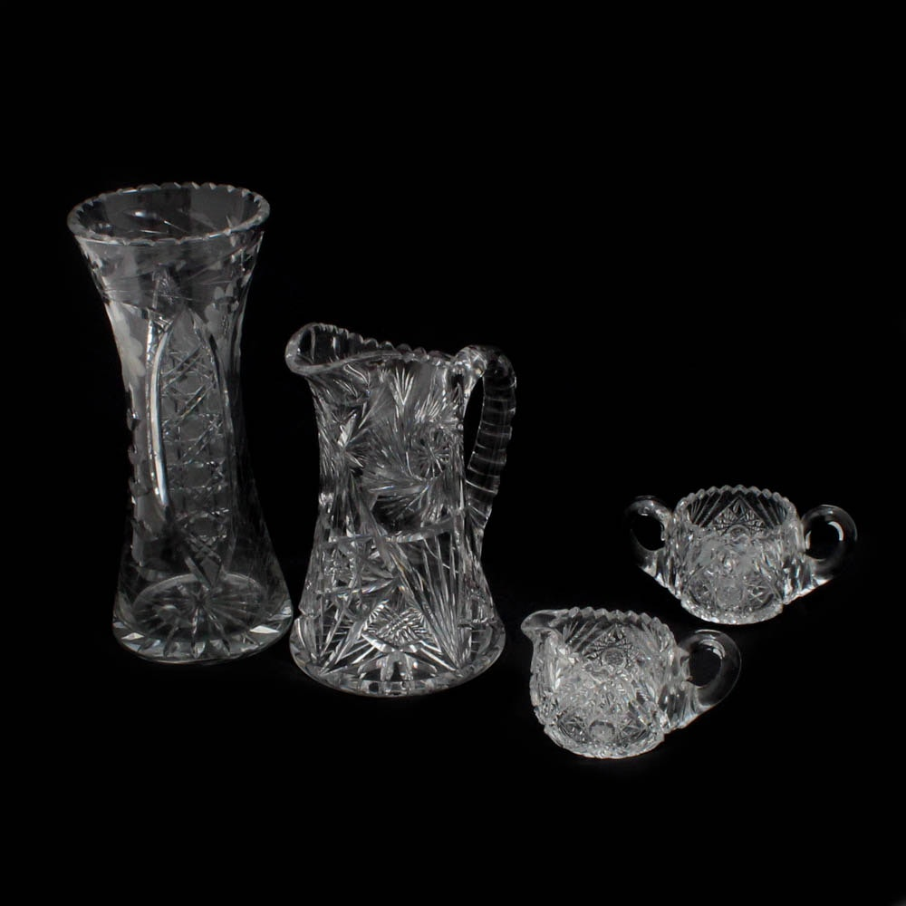 American Brilliant Period Cut and Etched Crystal Tableware