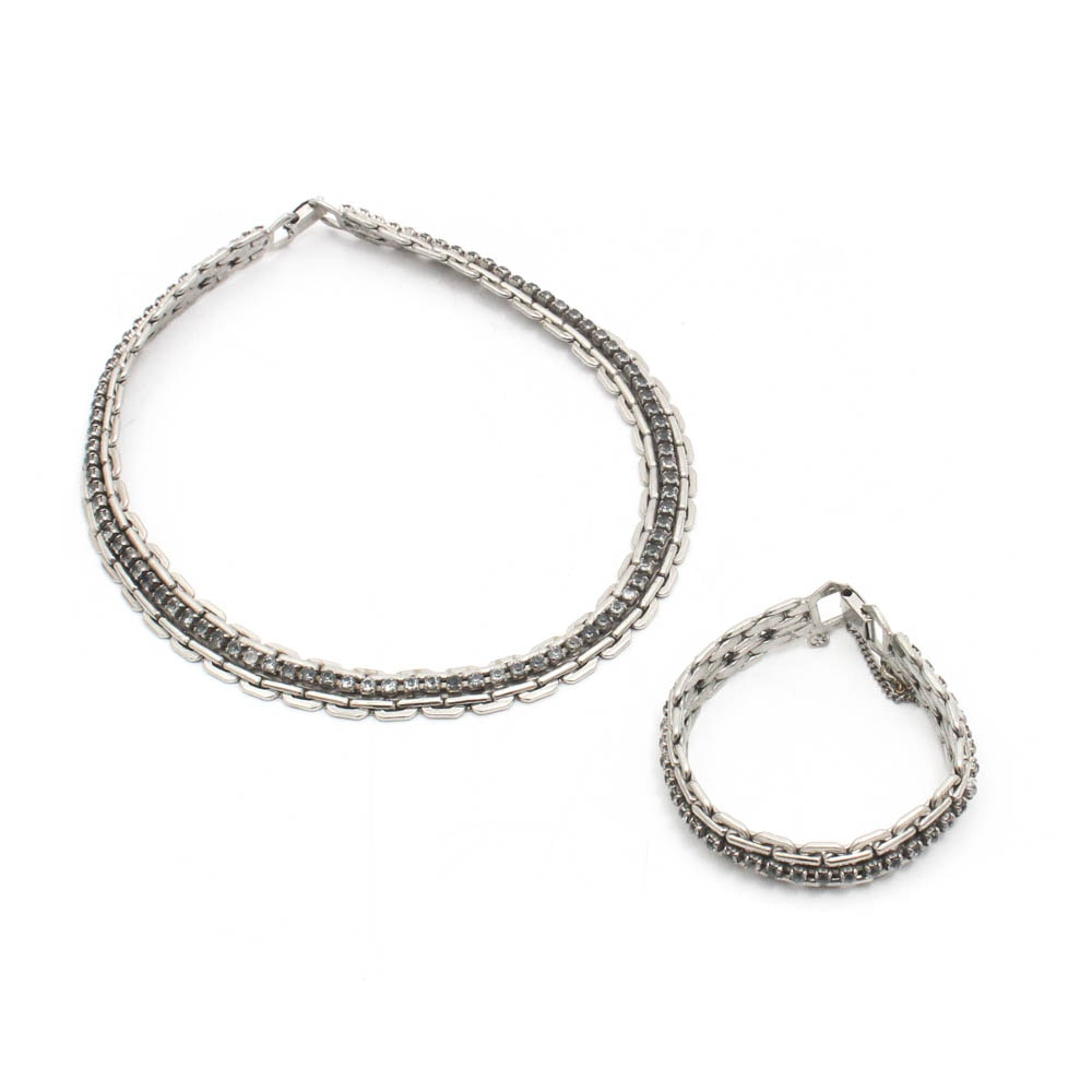 Kafin New York Silver Tone Link Necklace and Bracelet Demi Parure