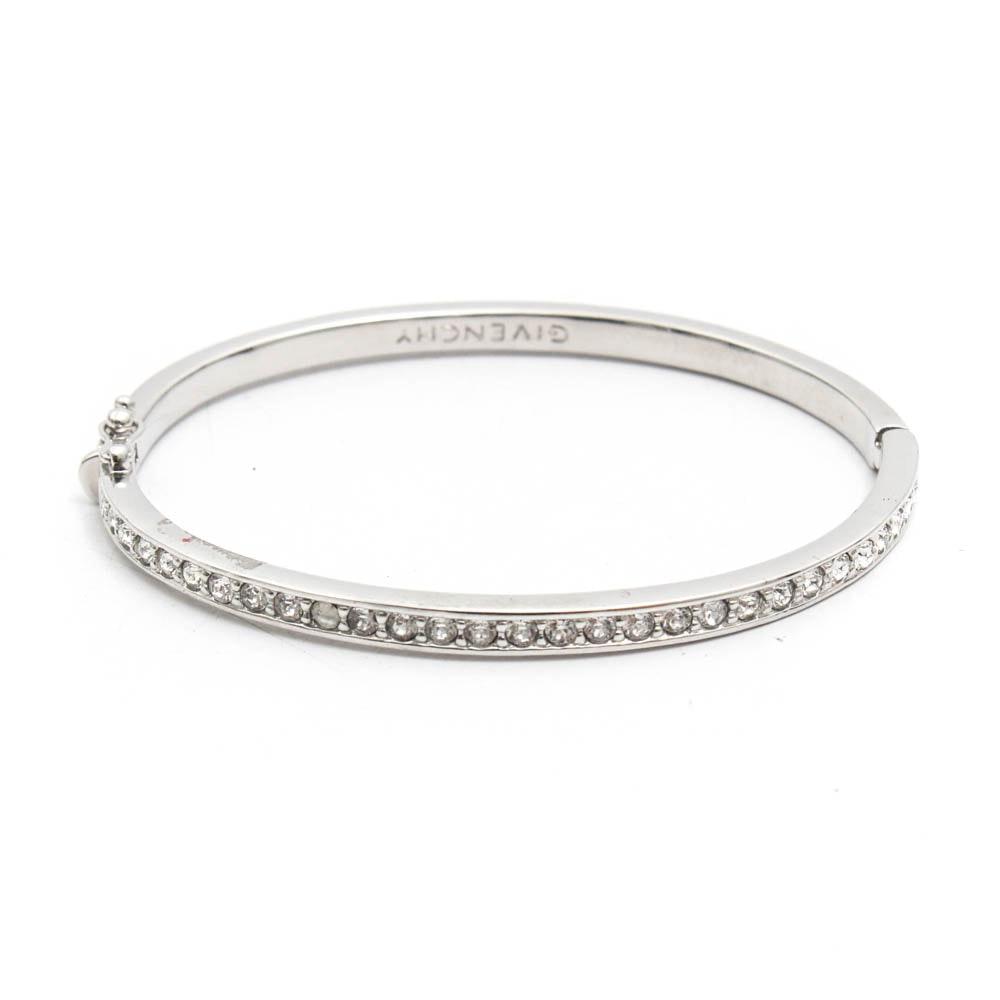 Givenchy Silver Tone Imitation Diamond Hinged Bangle Bracelet