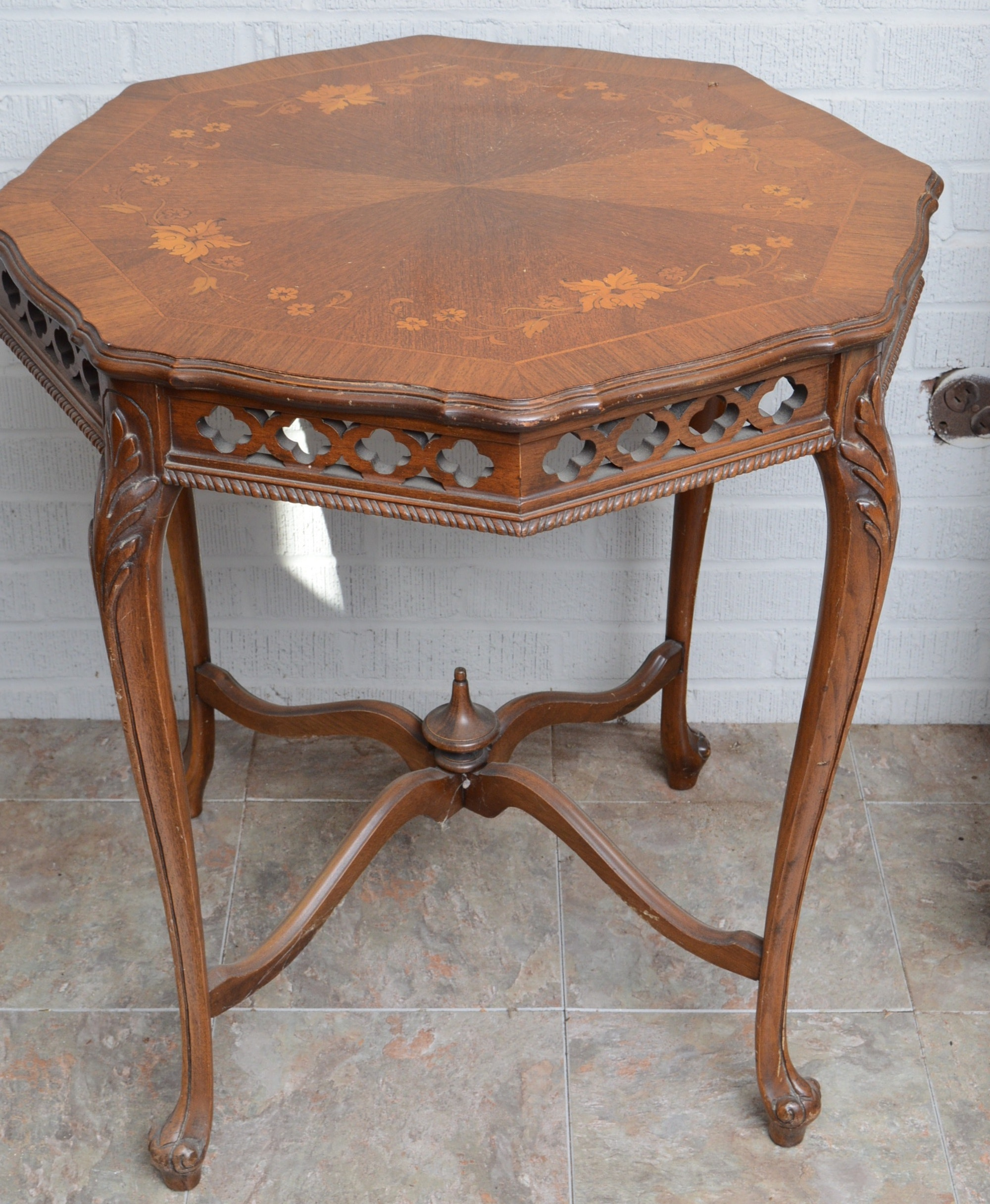 Walnut Side Table with Floral Inlay Top