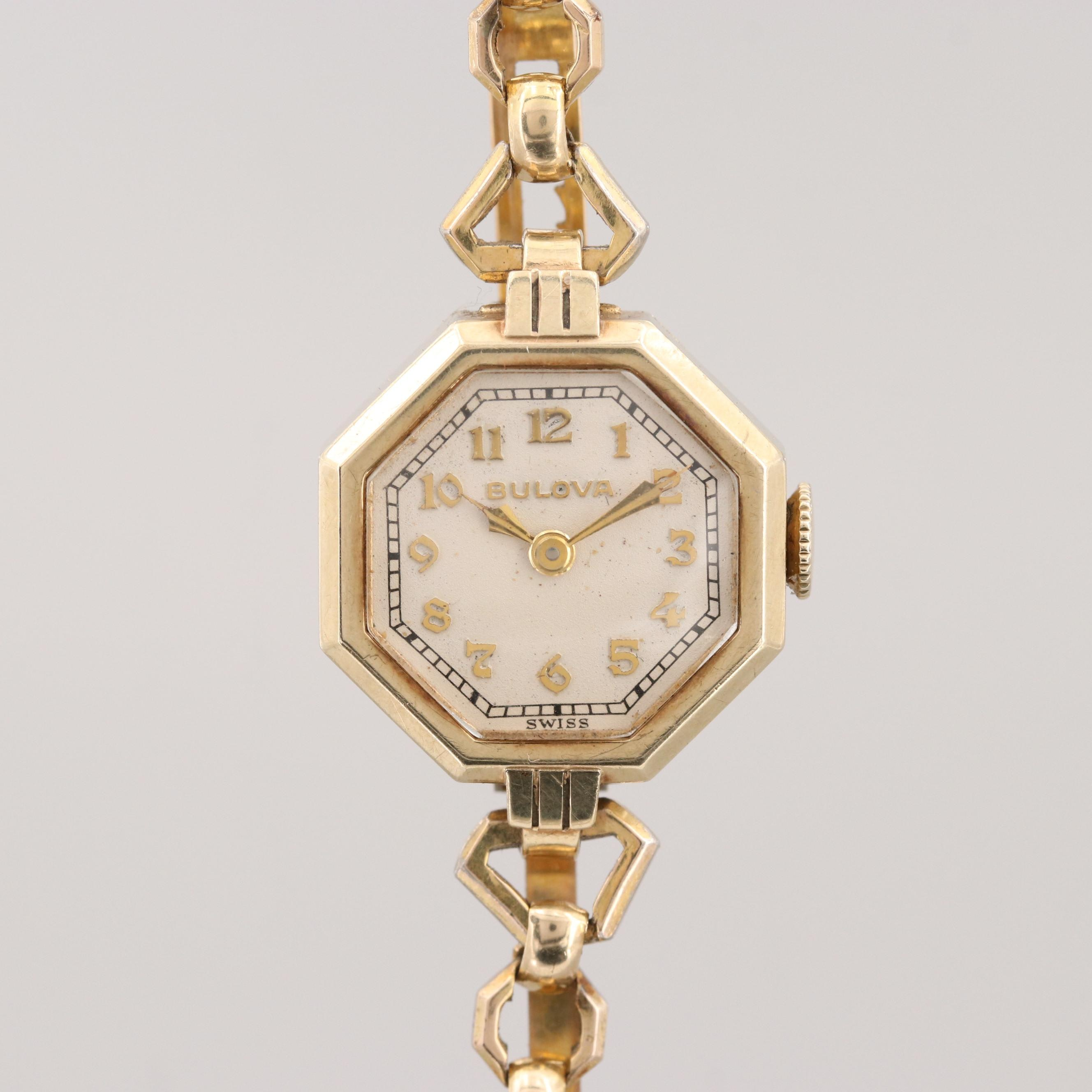 Vintage Bulova Rolled Gold Stem Wind Wristwatch