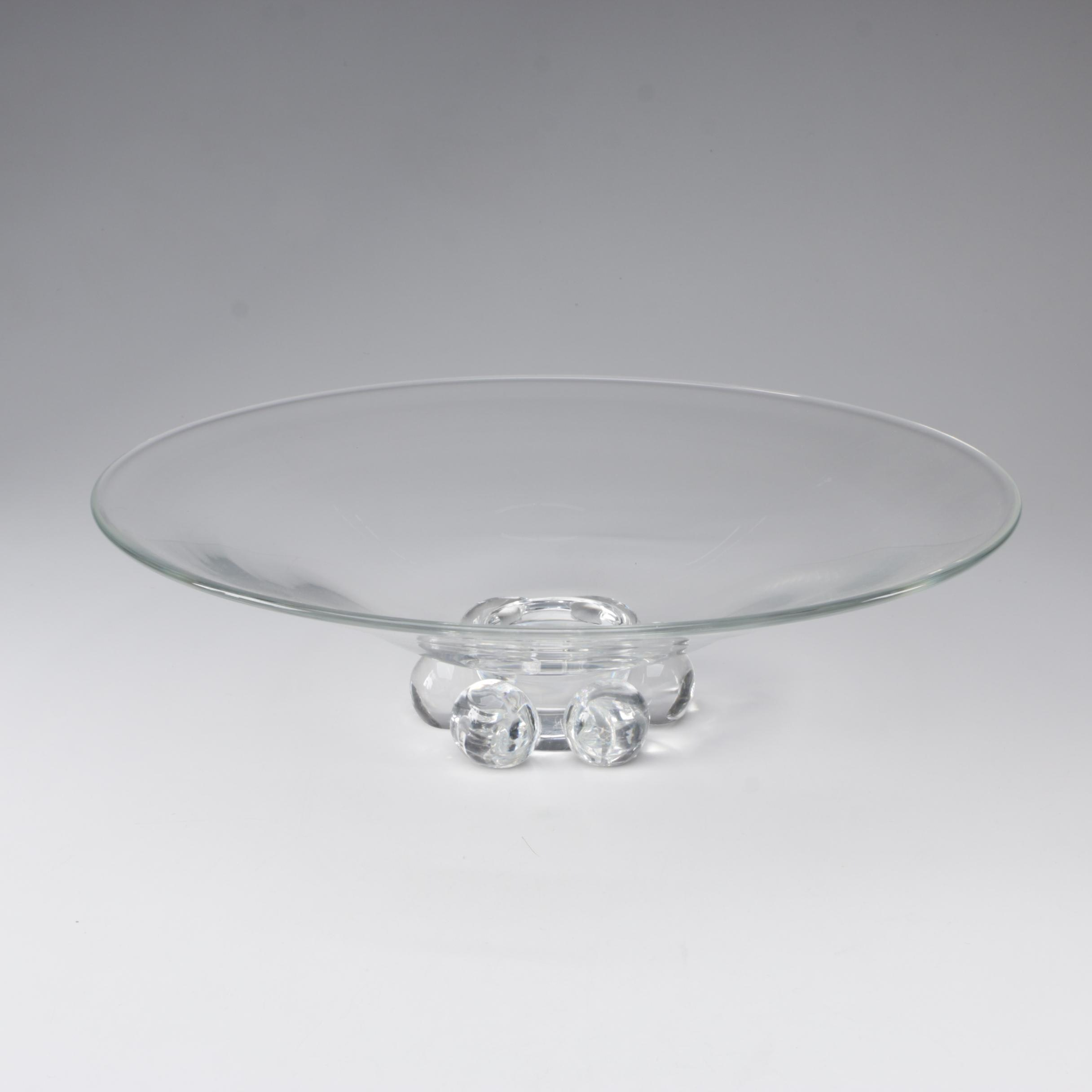 Steuben Art Glass Large Centerpiece Bowl with Sphered Base, Mid-Century