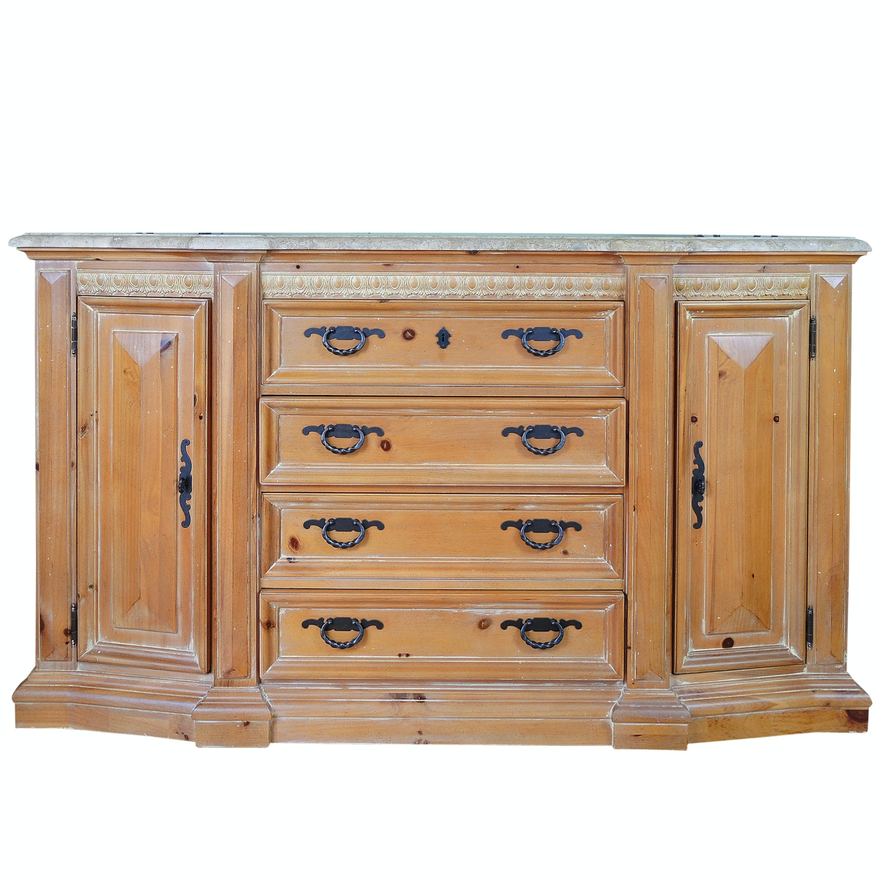 Thomasville Sideboard with Polished Stone Top, Contemporary