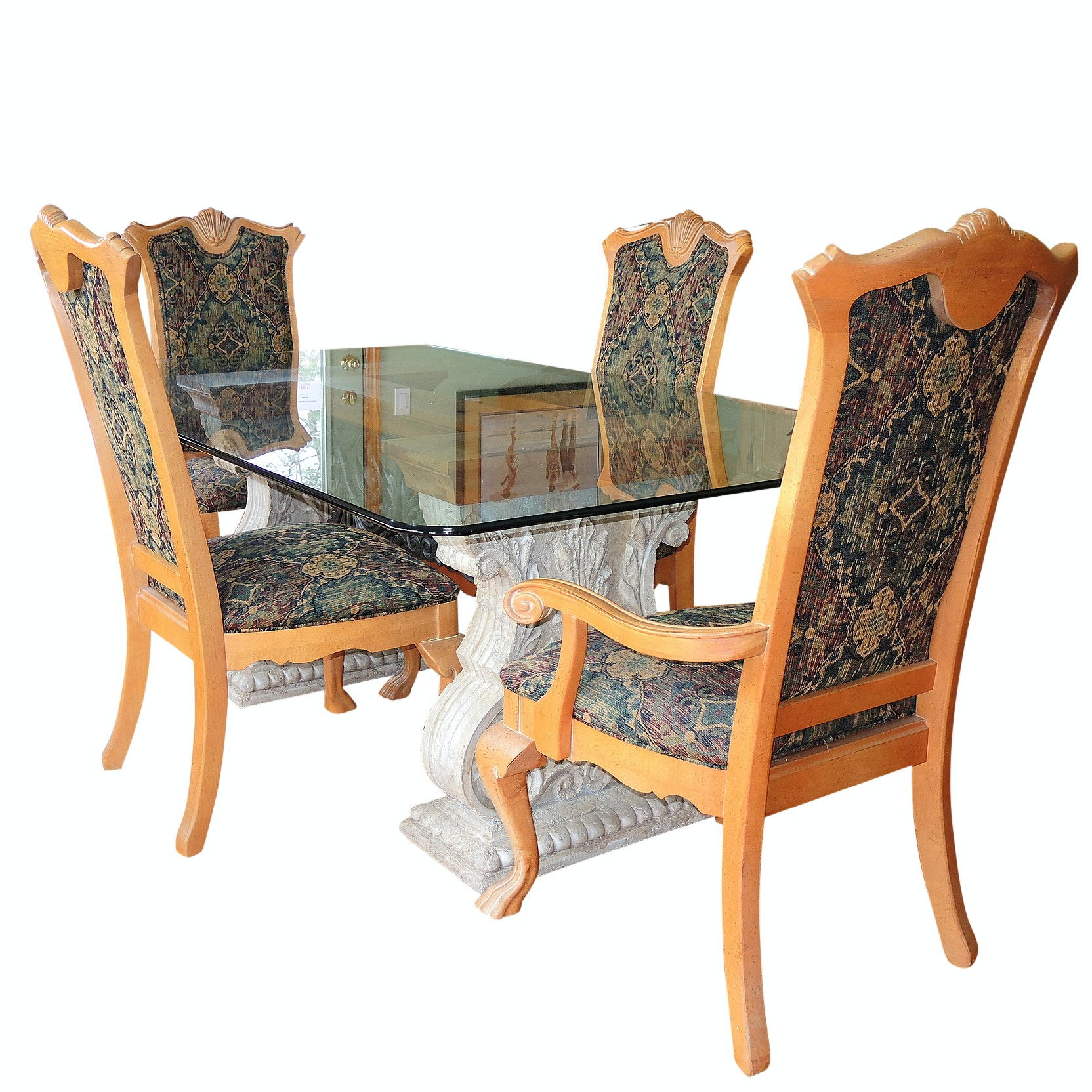 Thomasville Glass Top Dining Table and Chairs, Contemporary