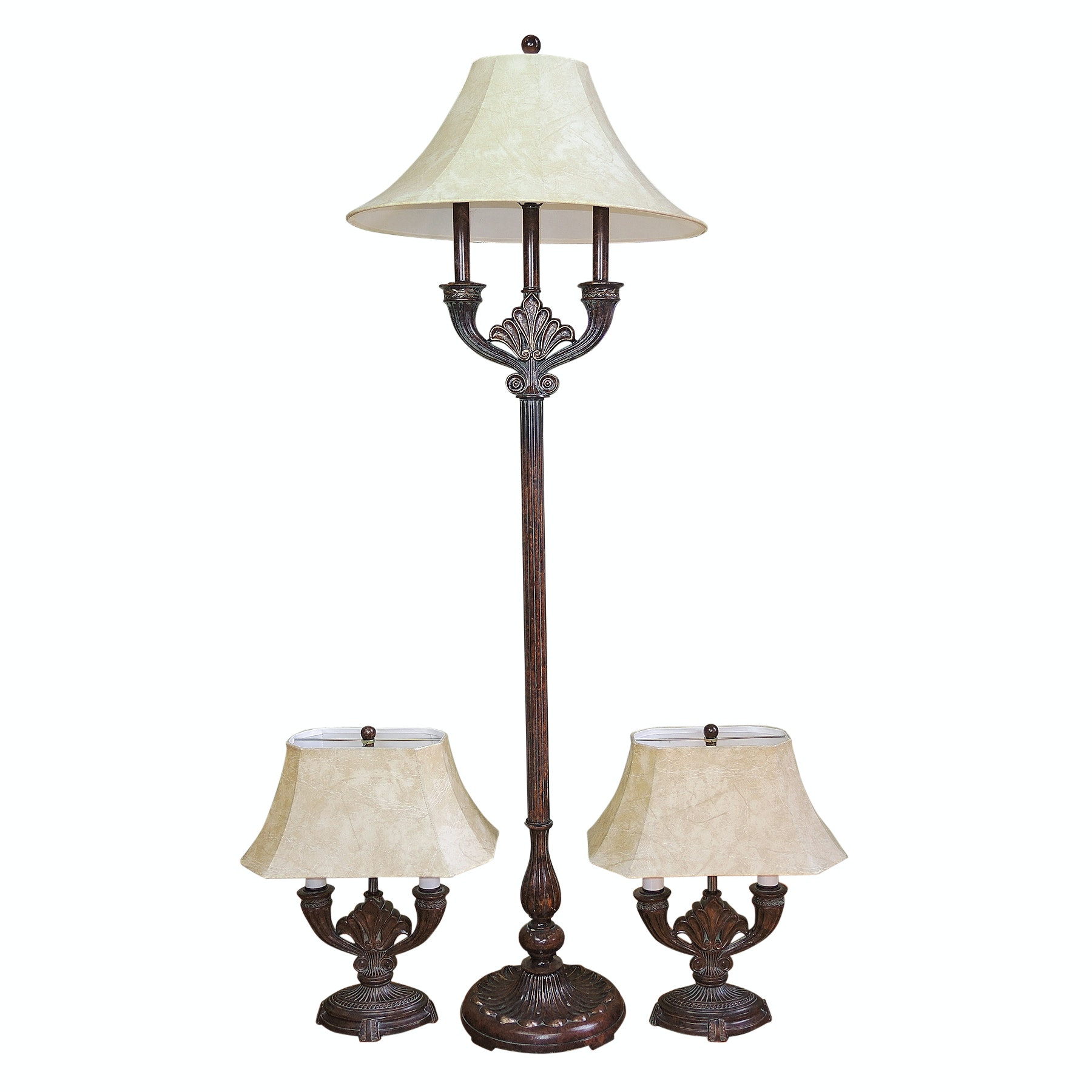 Neoclassical Style Metal Floor Lamp with Matching Pair of Table Lamps