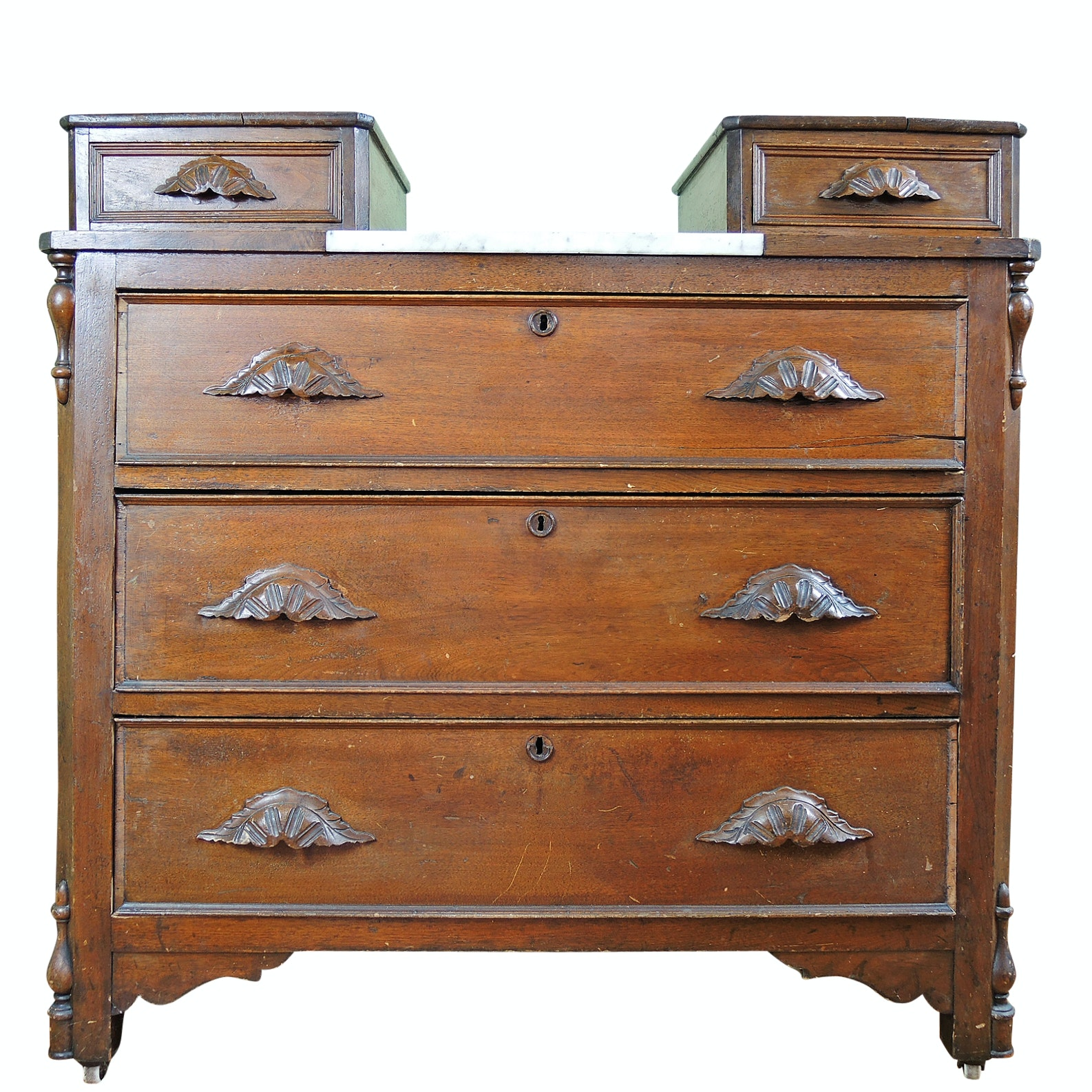 Late 19th Century Victorian Dresser with Glove Drawers, Marble Insert