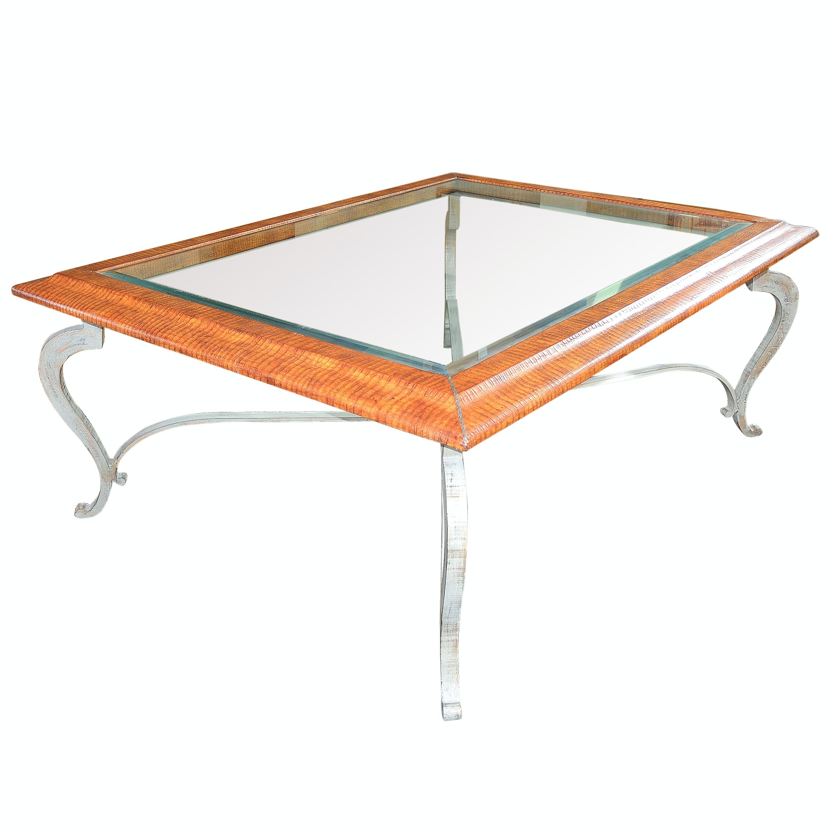 Beveled Glass Top Coffee Table, Contemporary