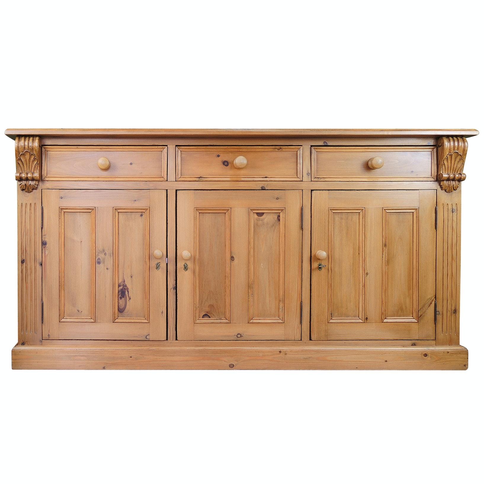 Locking Three Door Pine Sideboard, Contemporary