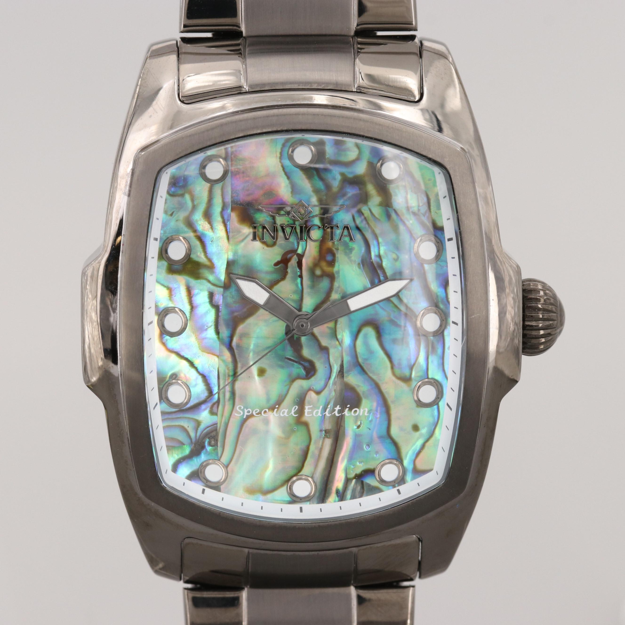 Invicta Lupah Special Edition Stainless Steel Quartz and Abalone Dial Wristwatch