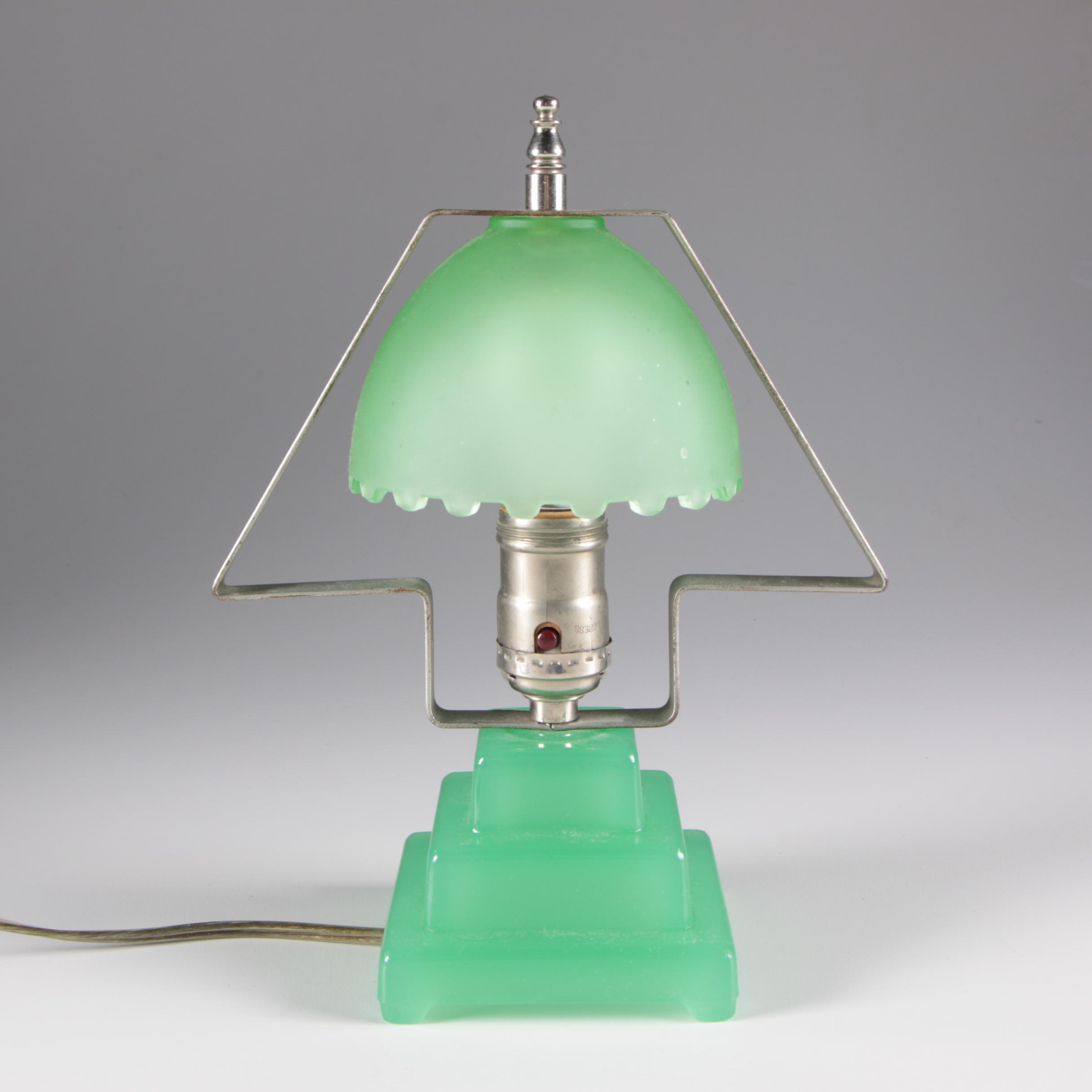 Art Deco Jadeite Glass Table Lamp, Mid-Century