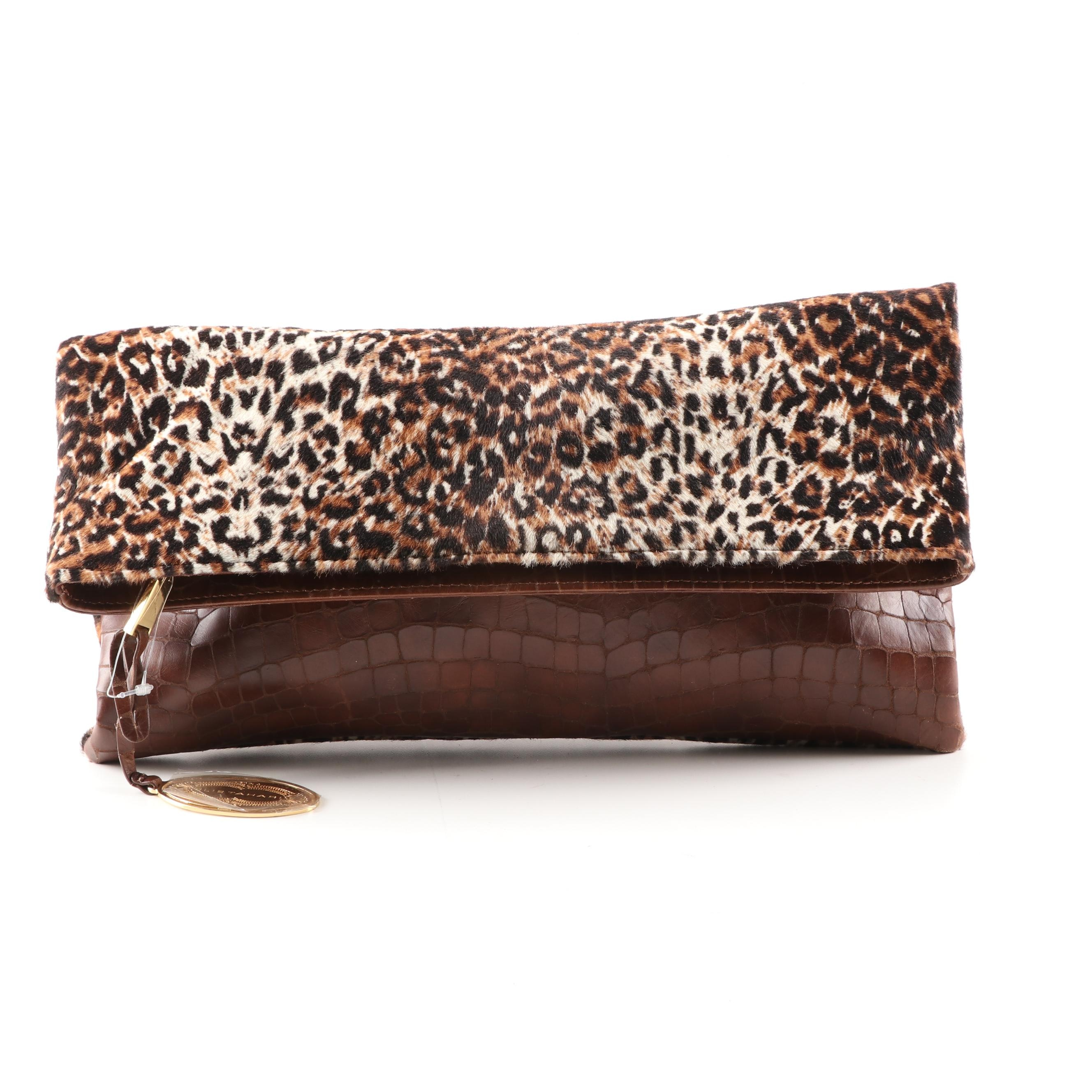 Elie Tahari Leopard Print Dyed Cowhide and Embossed Leather Foldover Clutch