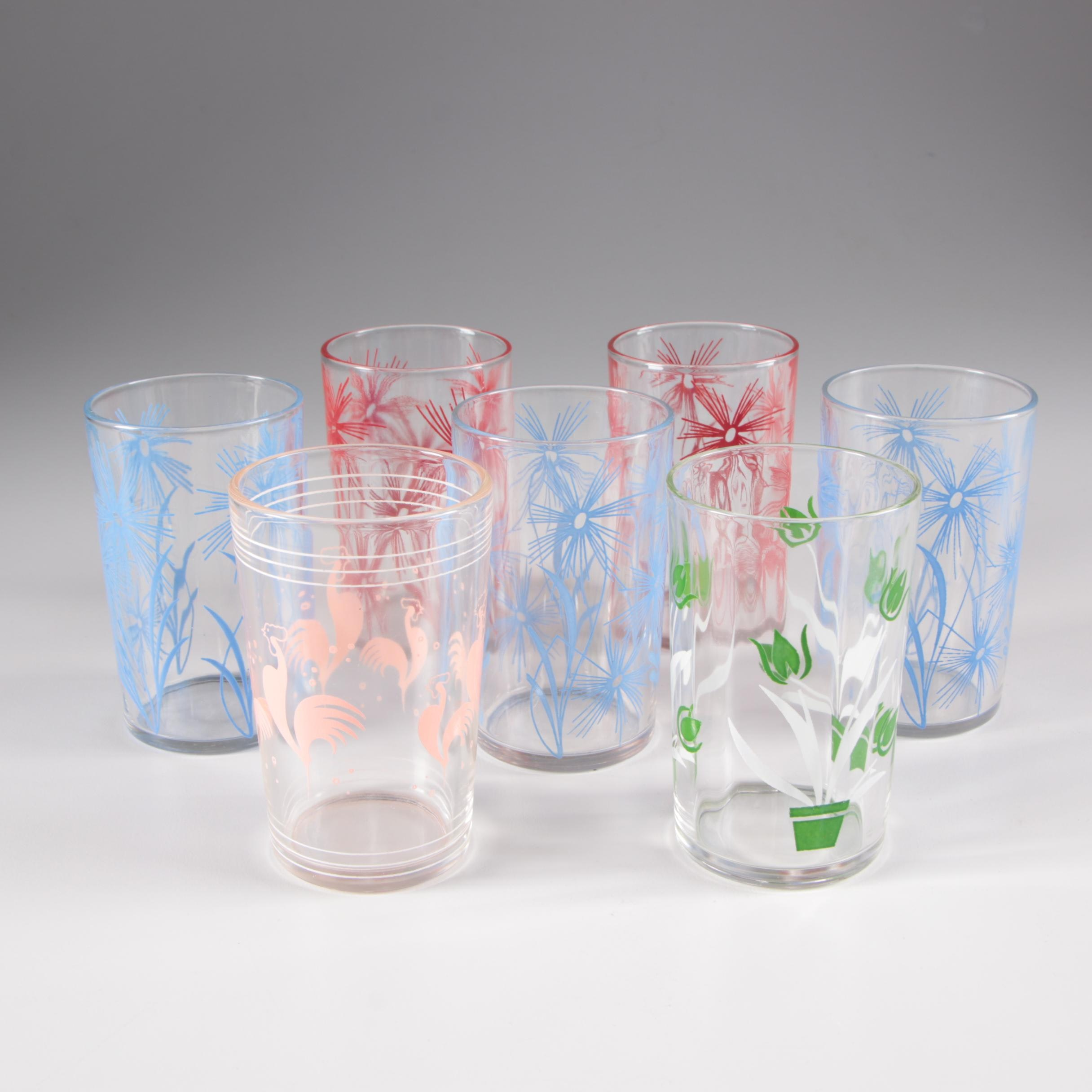 Juice Glasses with Colorful Flower and Rooster Decoration, Vintage