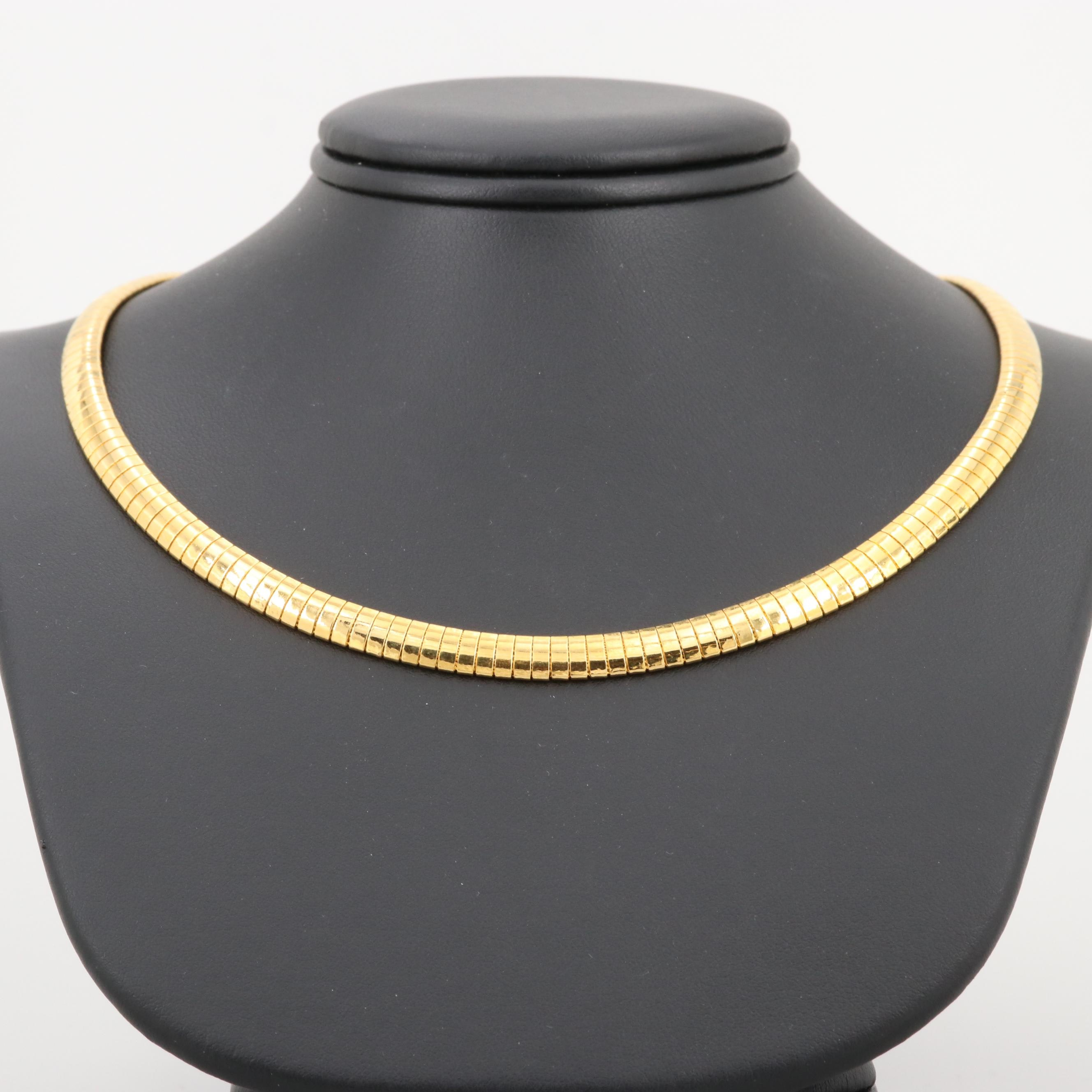 Gold Wash on Sterling Silver Omega Chain Necklace